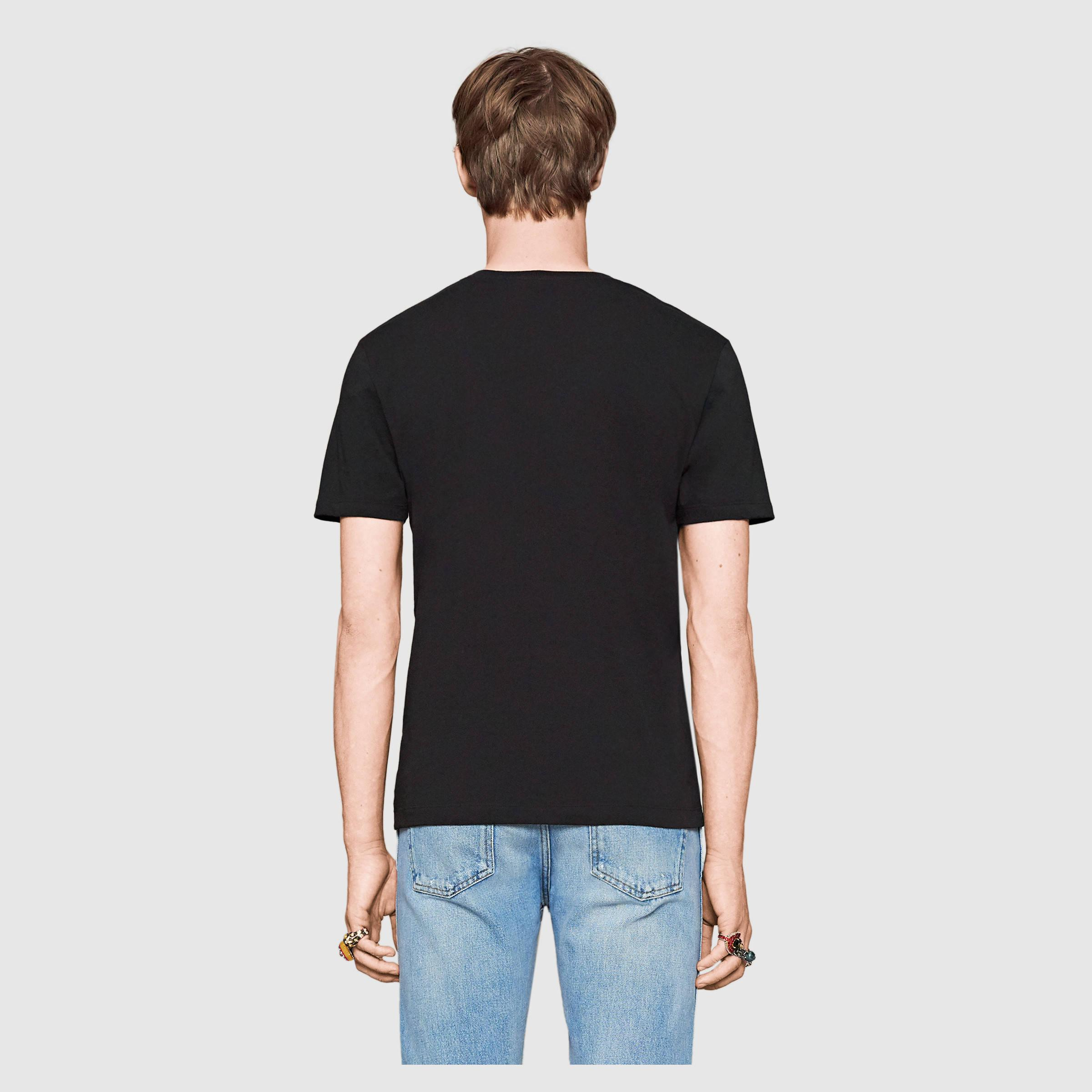 gucci ghost cotton t shirt in black for men lyst. Black Bedroom Furniture Sets. Home Design Ideas