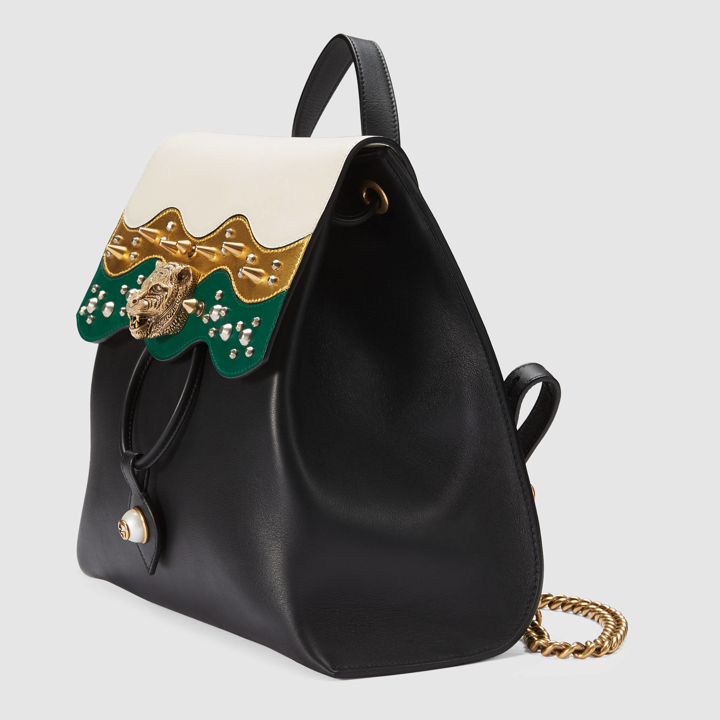 e13f8d39f71 Lyst - Gucci Leather Studded Backpack in Black