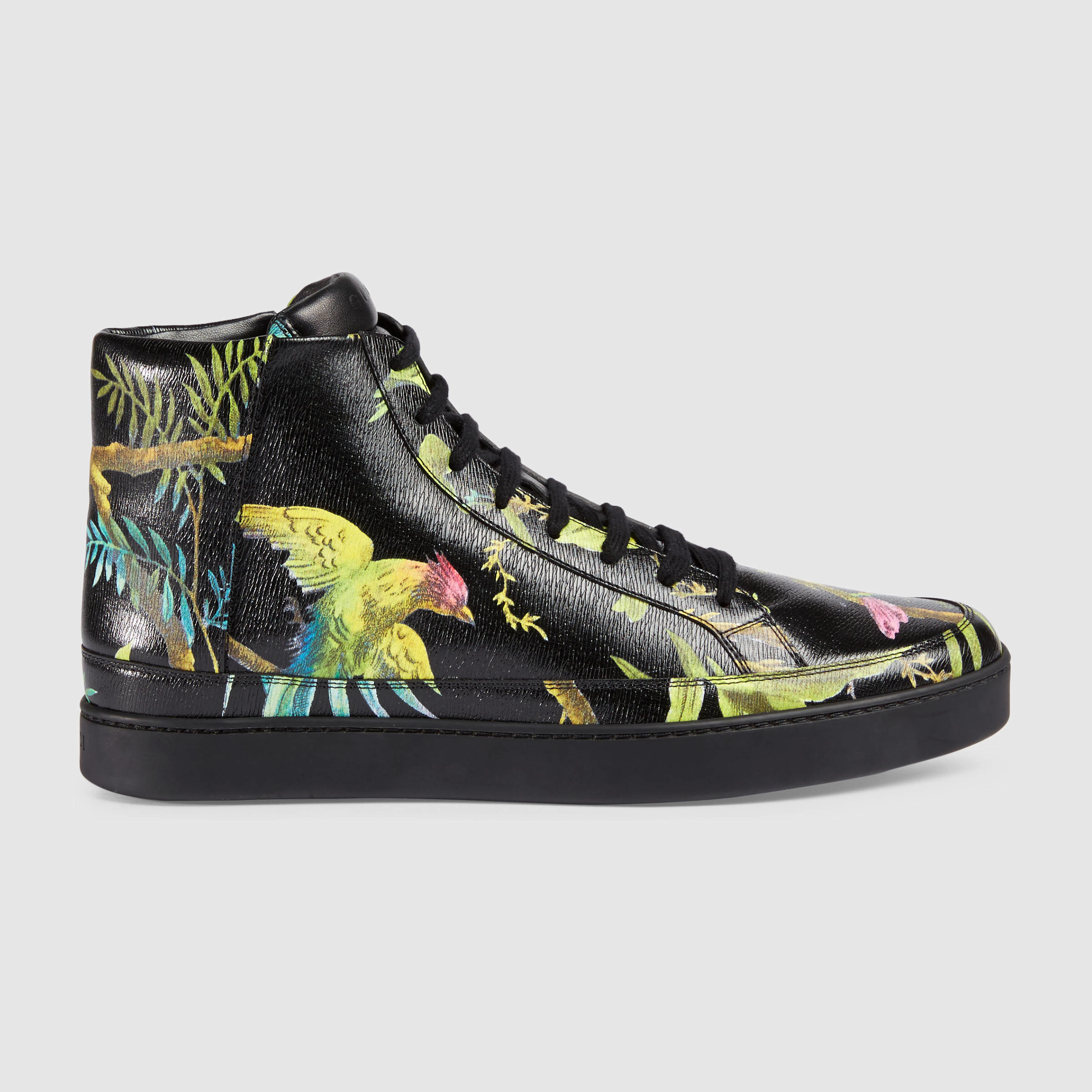 cffe2d62b40 Gucci Tropical Print High-top Sneaker in Black - Lyst