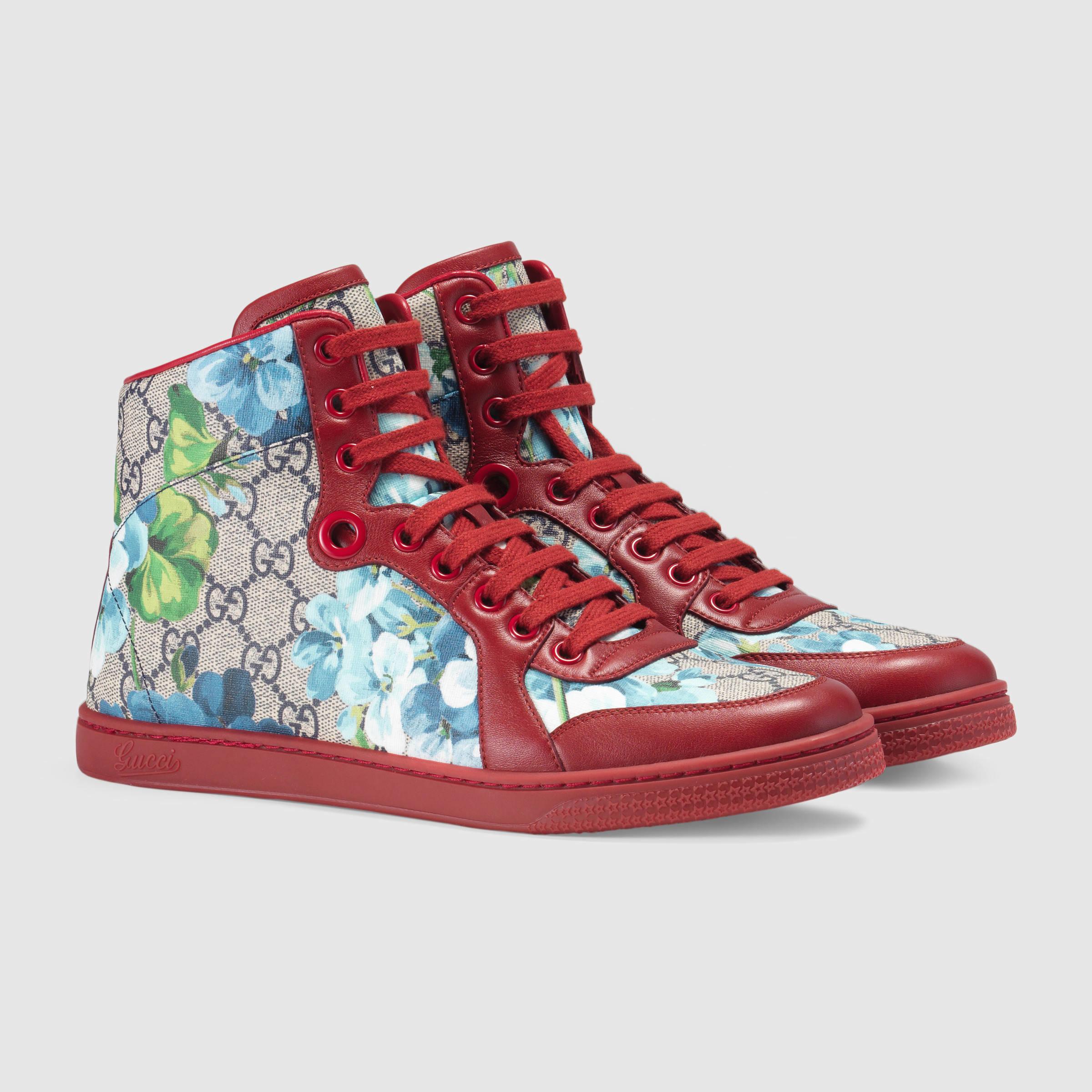 3ede9e060eb Gucci Gg Blooms High-top Sneaker in Blue - Lyst