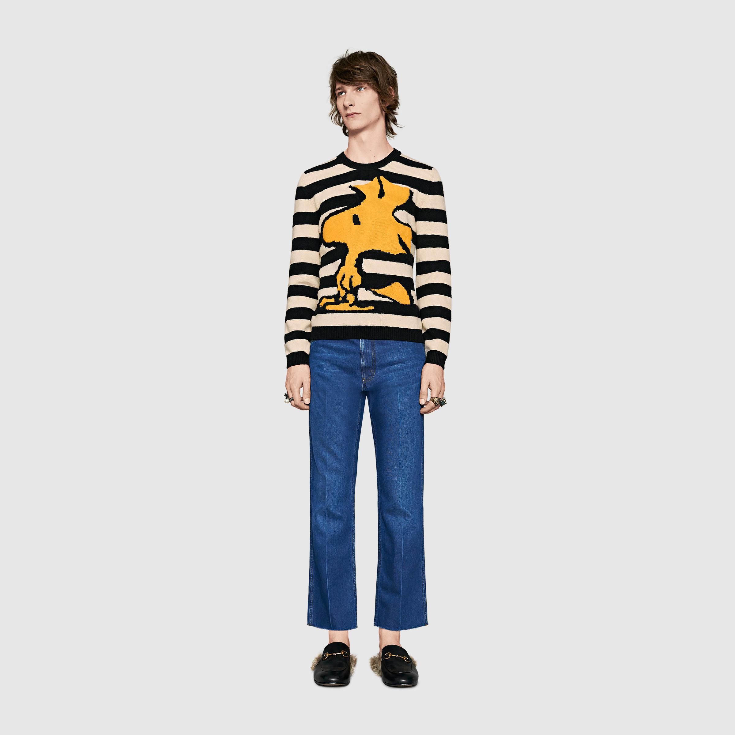 e0fbb04f Gucci Striped Wool Woodstock Sweater in Black for Men - Lyst