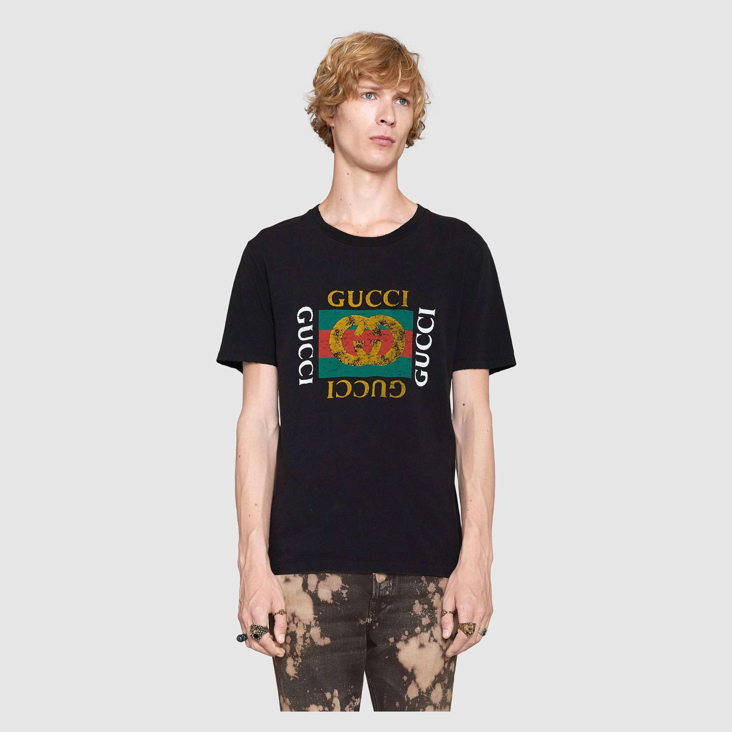 705d024c7ba Gucci Washed T-shirt With Print in Black for Men - Lyst