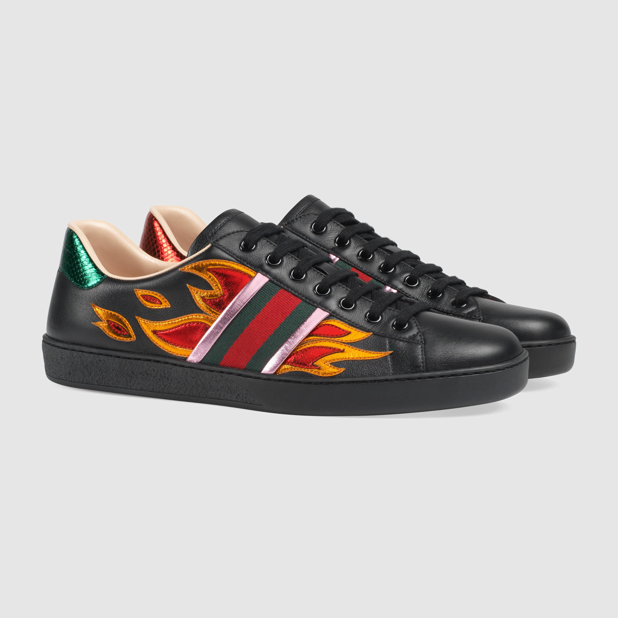 6c0bf30ffc9 Lyst - Gucci Ace Low-top Sneaker With Flames for Men