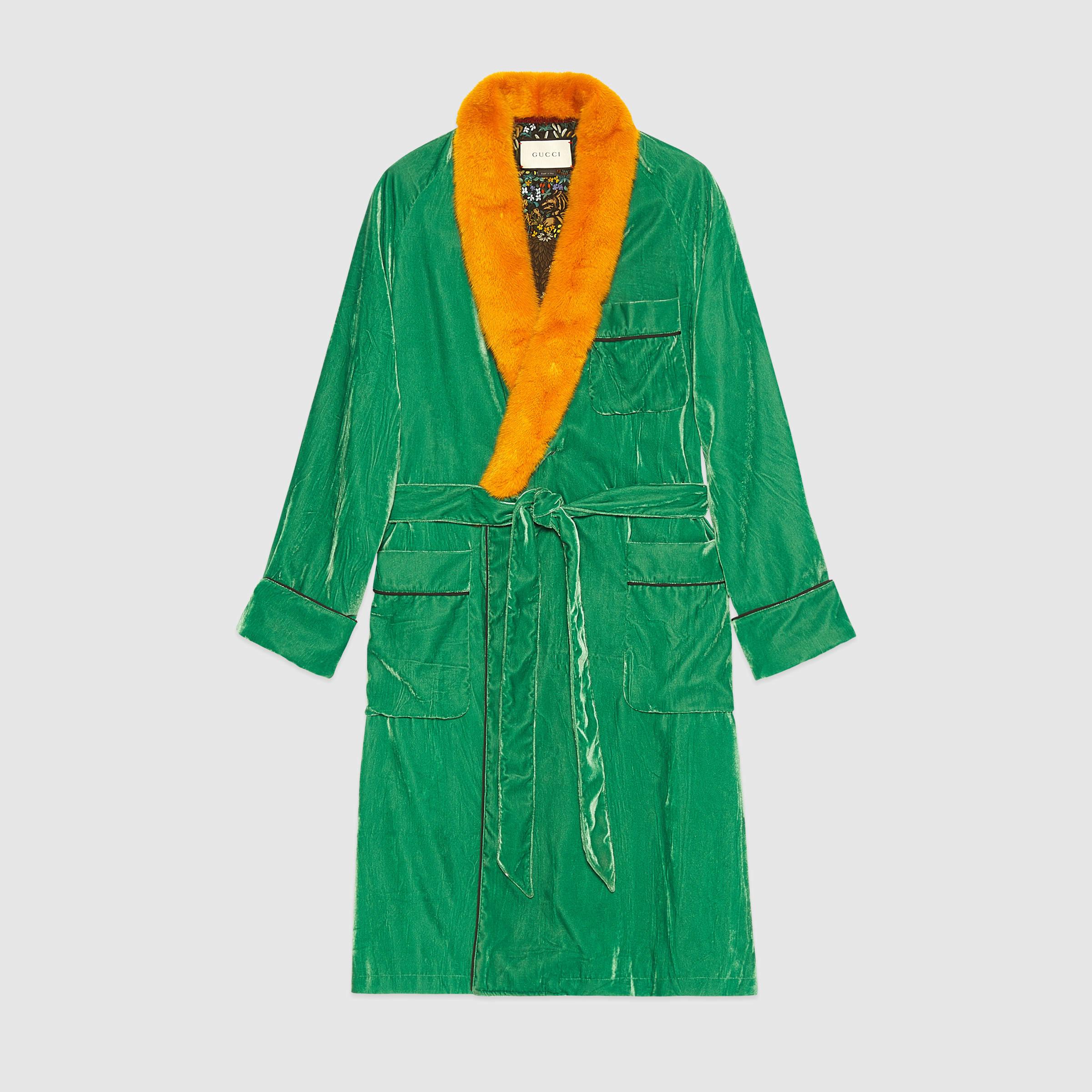 Lyst - Gucci Embroidered Velvet Dressing Gown for Men