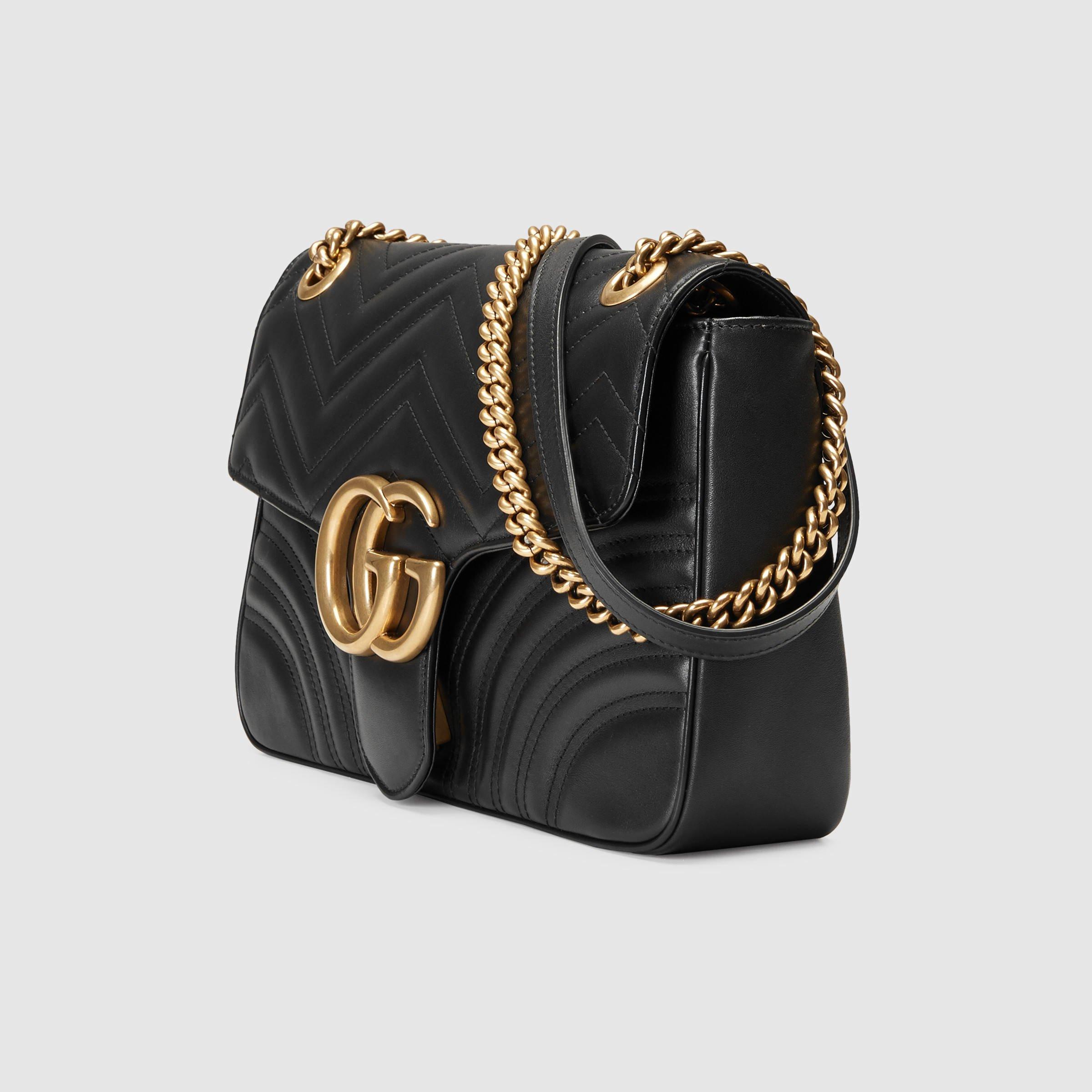 Gucci Black Leather Web Stripe Small Shoulder Bag In Black