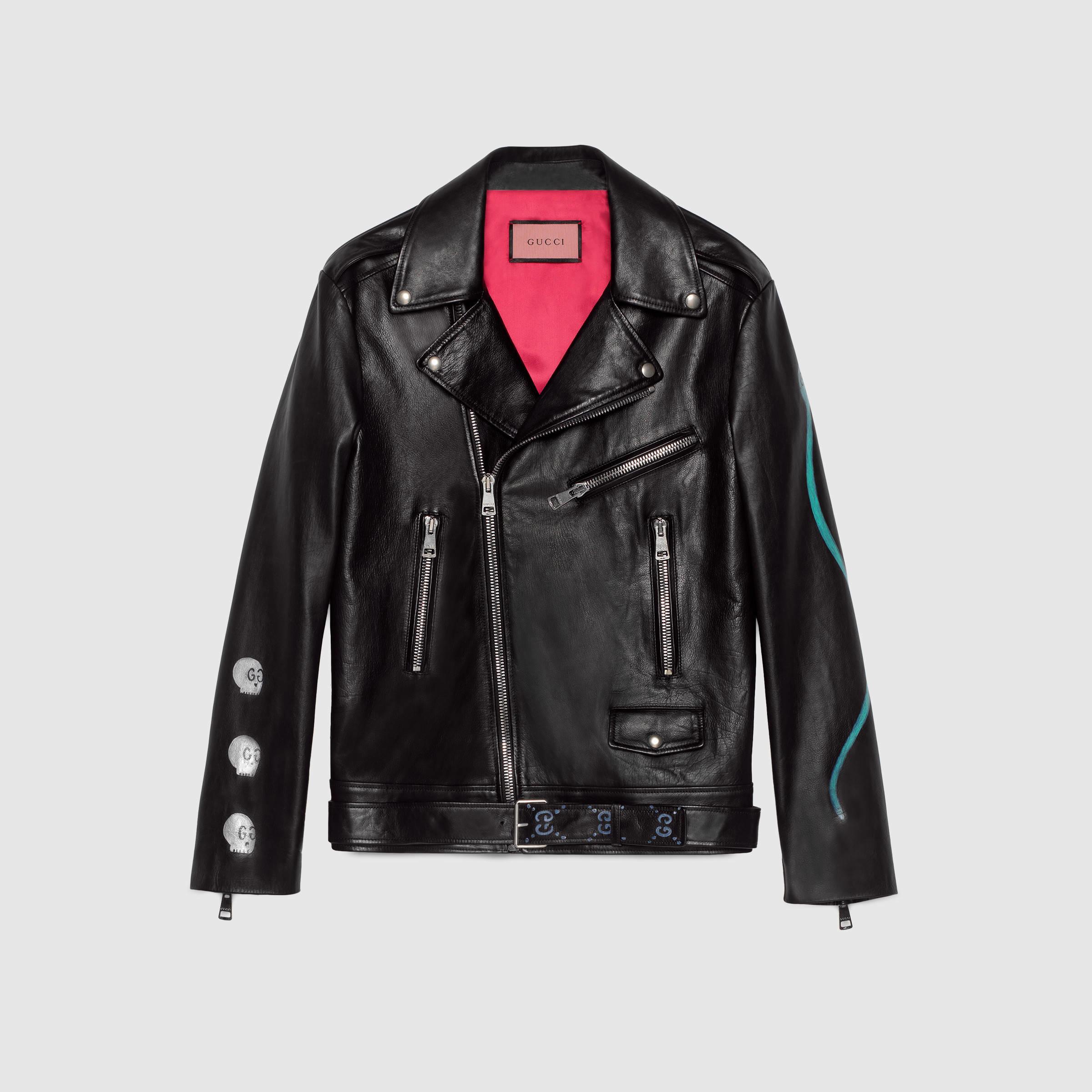 6de82563d Gucci Ghost Biker Jacket in Black - Lyst