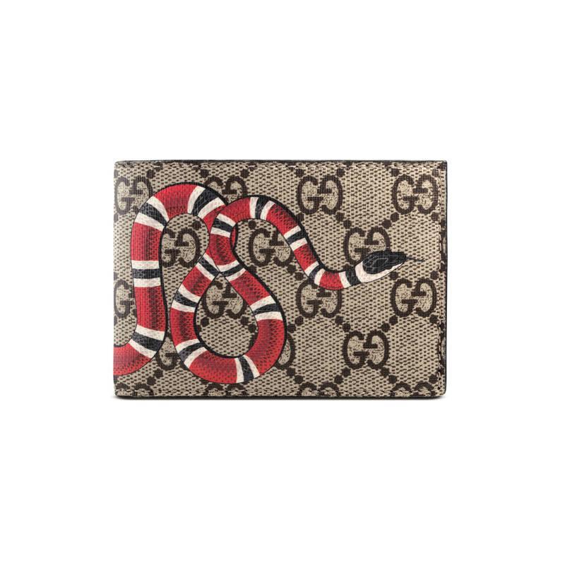 Gucci Snake Print Gg Supreme Wallet For Men Lyst