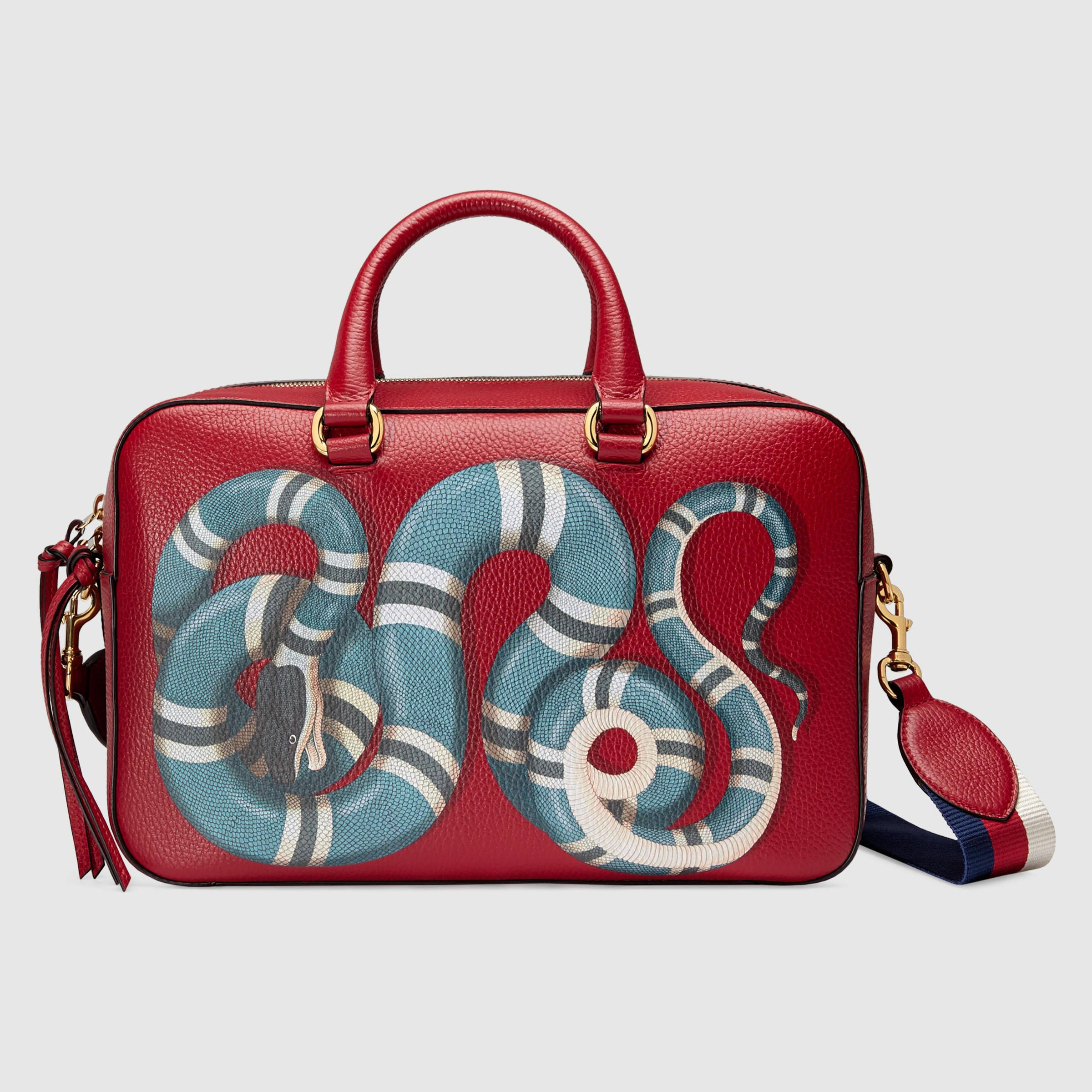 42882fa0fe7147 Gucci Snake Print Leather Top Handle Bag - Lyst