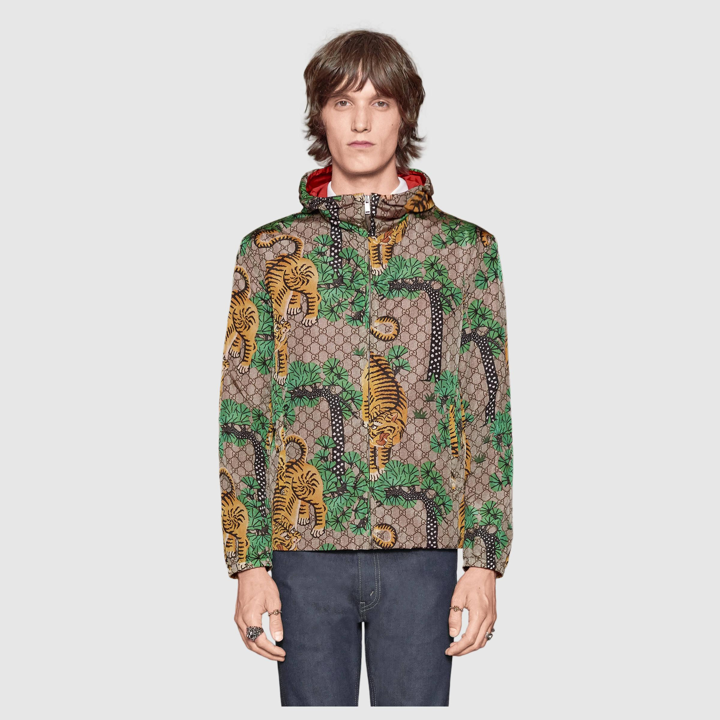9cc6abaa323 Lyst - Gucci Bengal Print Nylon Jacket in Green for Men