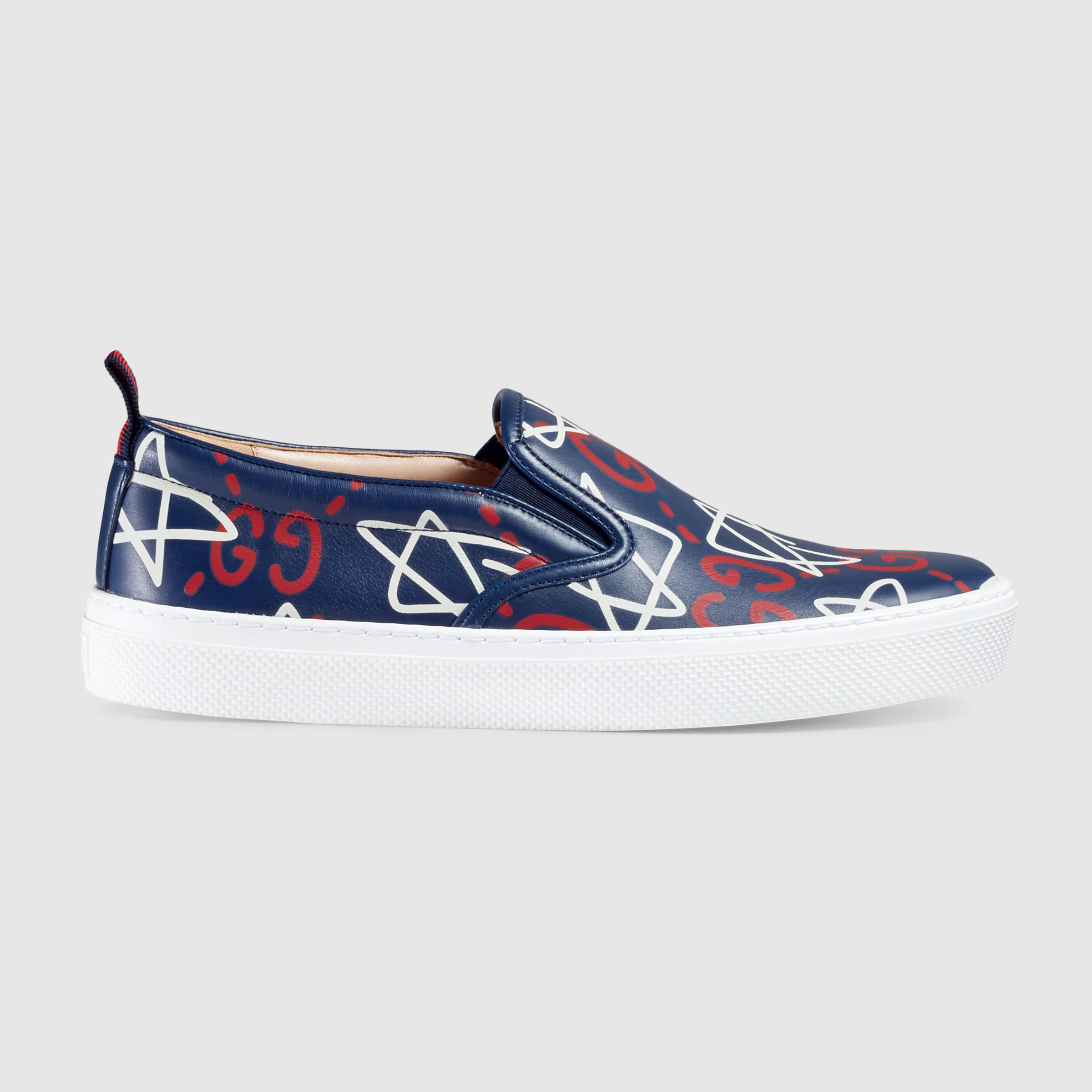 Gucci Ghost Print Leather Slip-on Sneaker