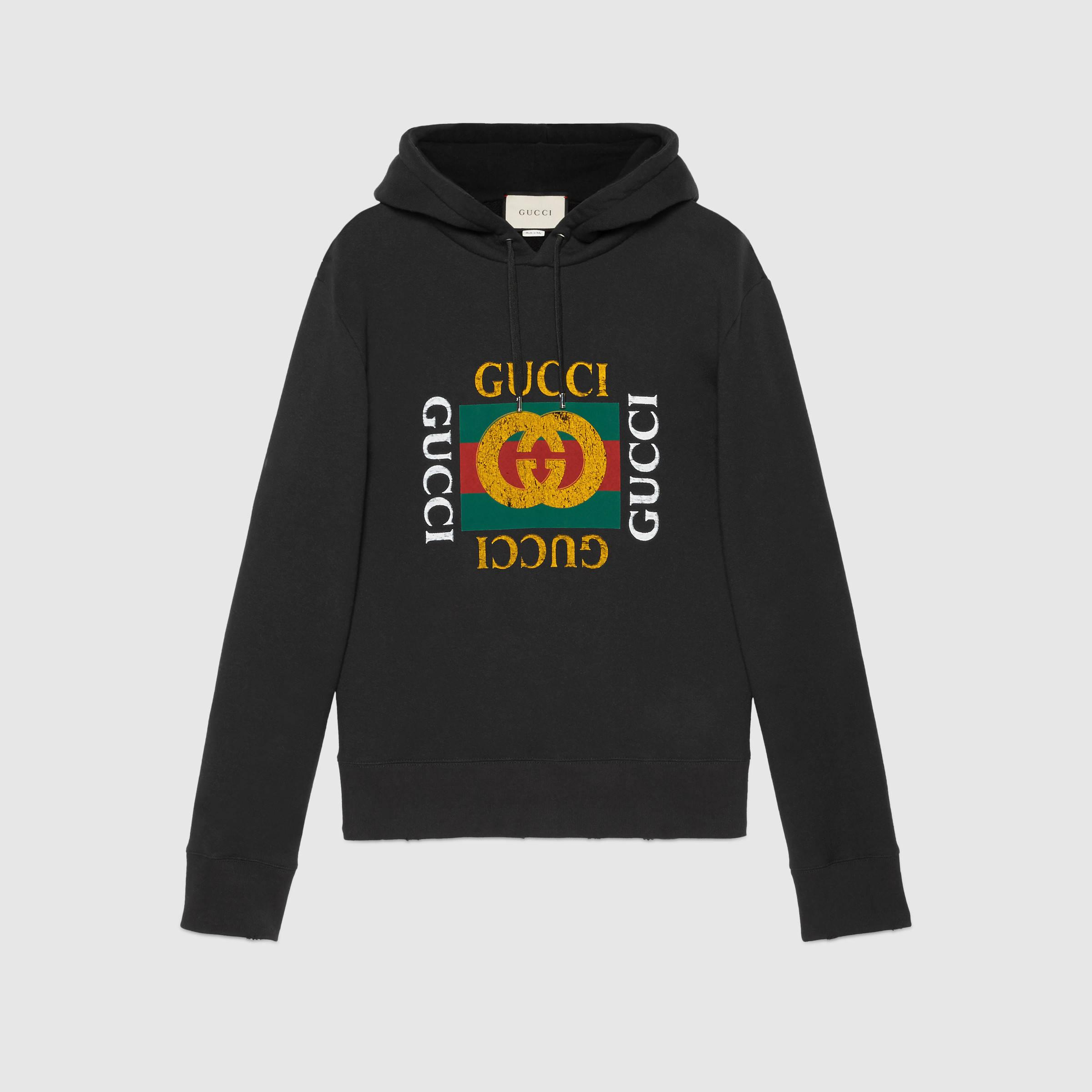 gucci cotton sweatshirt with print in black for men lyst. Black Bedroom Furniture Sets. Home Design Ideas