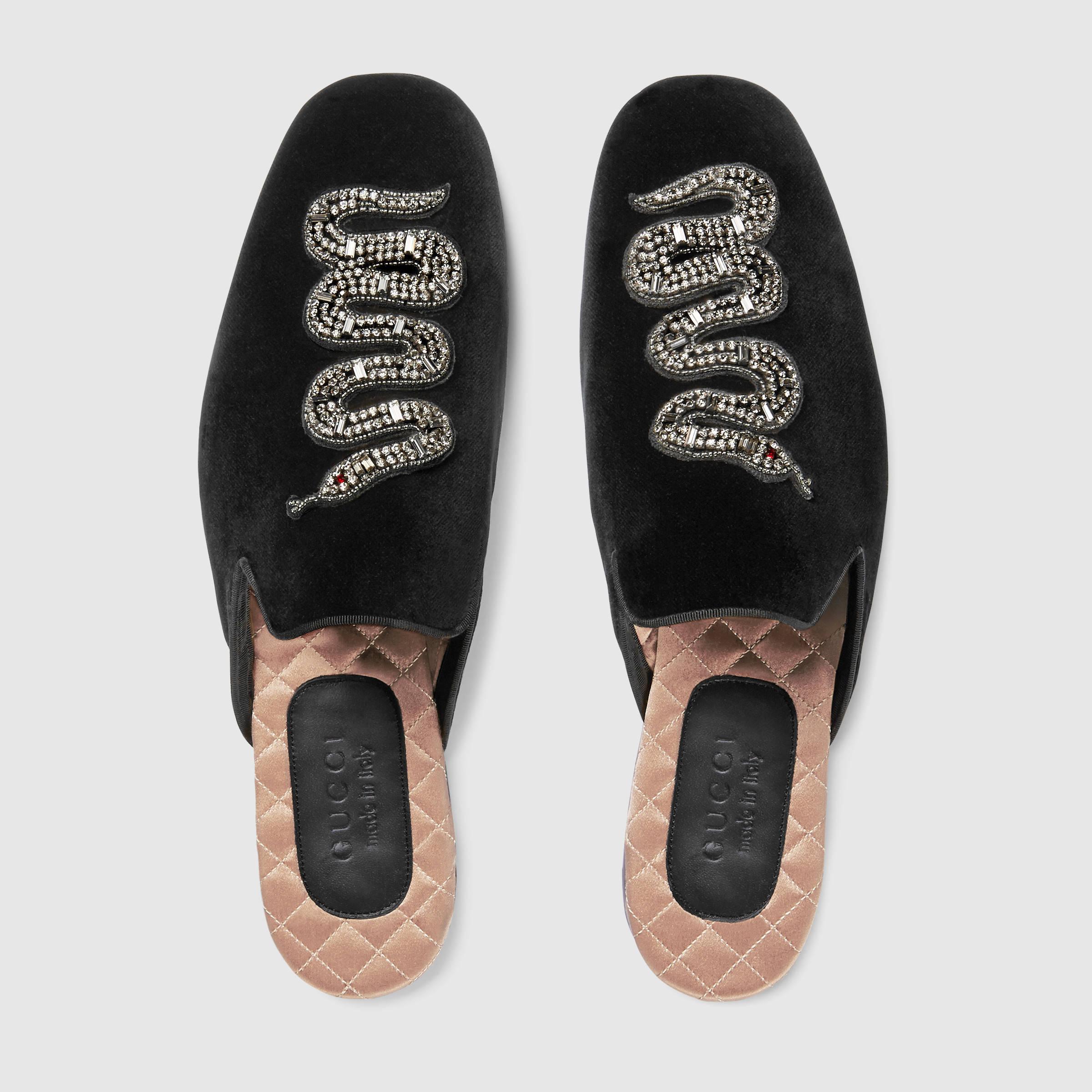 596cafad08cb Lyst - Gucci Velvet Evening Slipper With Snake in Black for Men