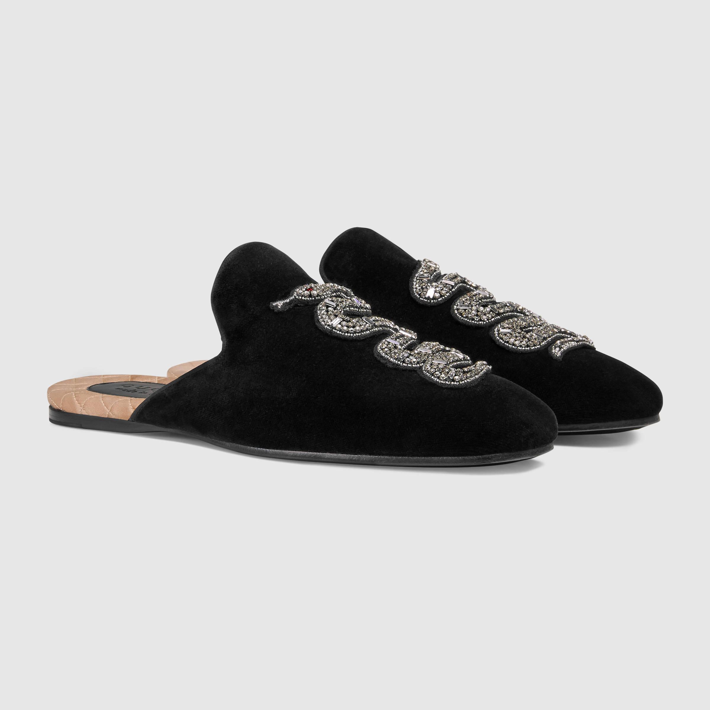 79633f0b6fa Lyst - Gucci Velvet Evening Slipper With Snake in Black for Men