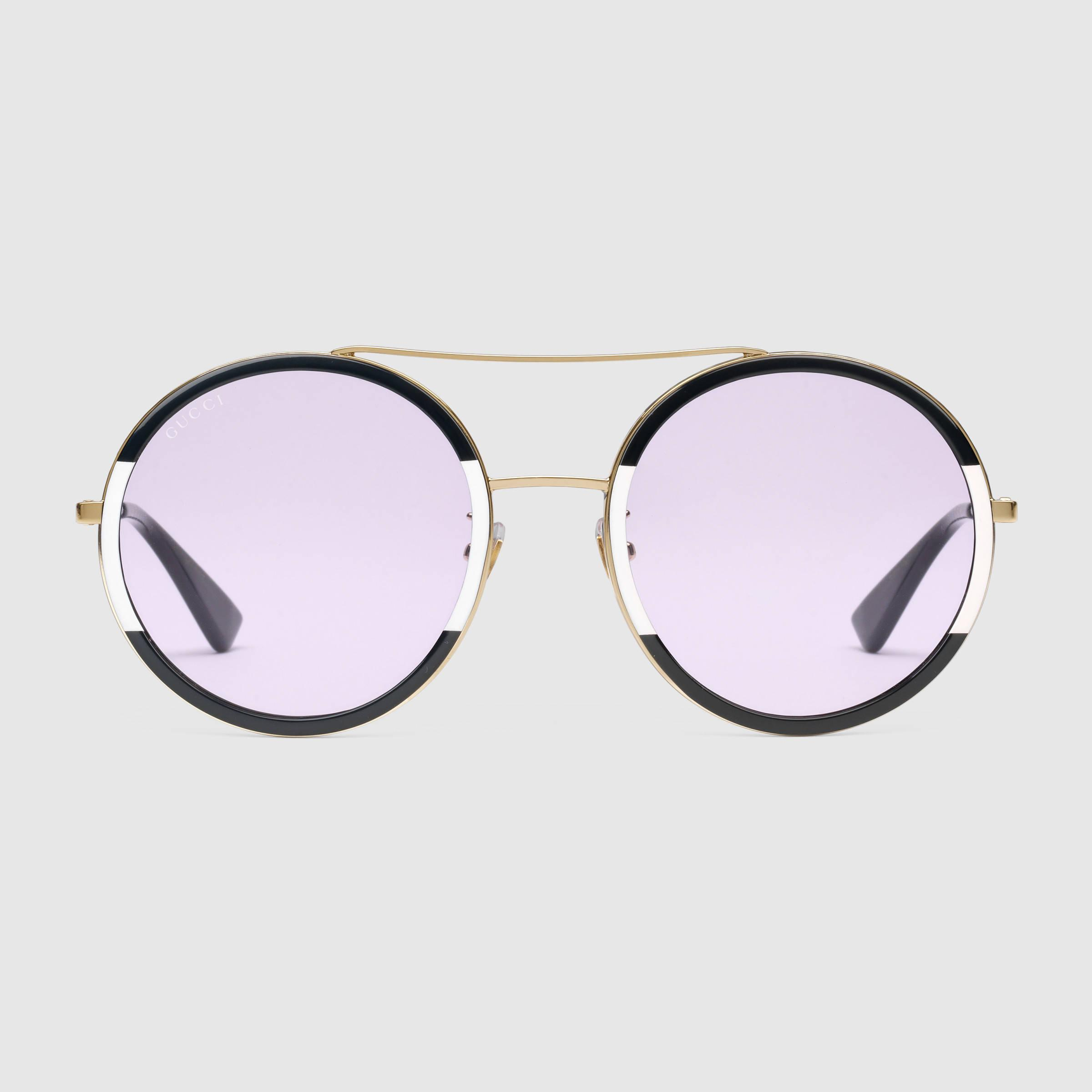 Glasses Frame Gucci : Gucci Round-frame Sunglasses in Metallic Lyst