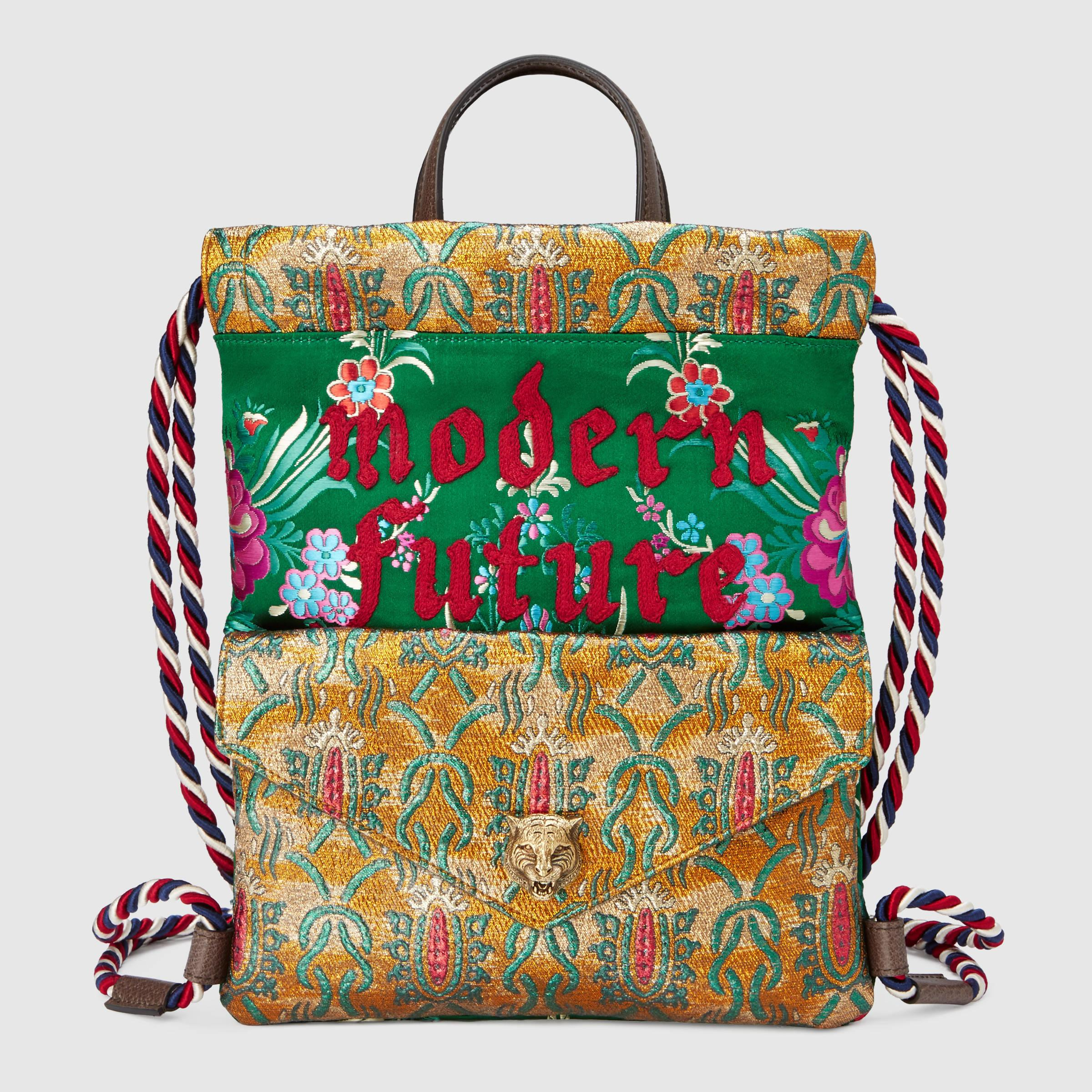 0af7ad053fc2 Lyst - Gucci Brocade Drawstring Backpack