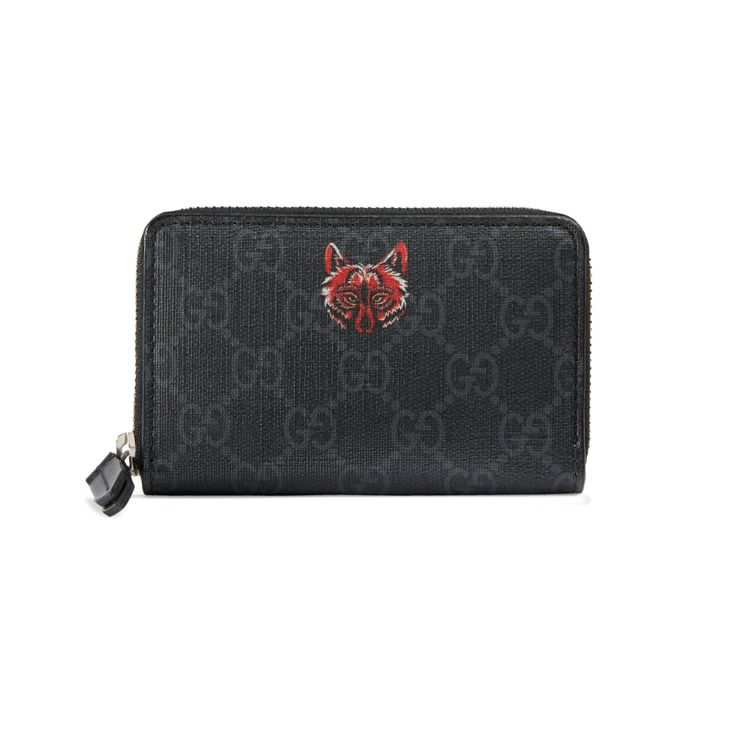 87f30192db0a06 Gucci Gg Supreme Card Case With Wolf in Black for Men - Lyst