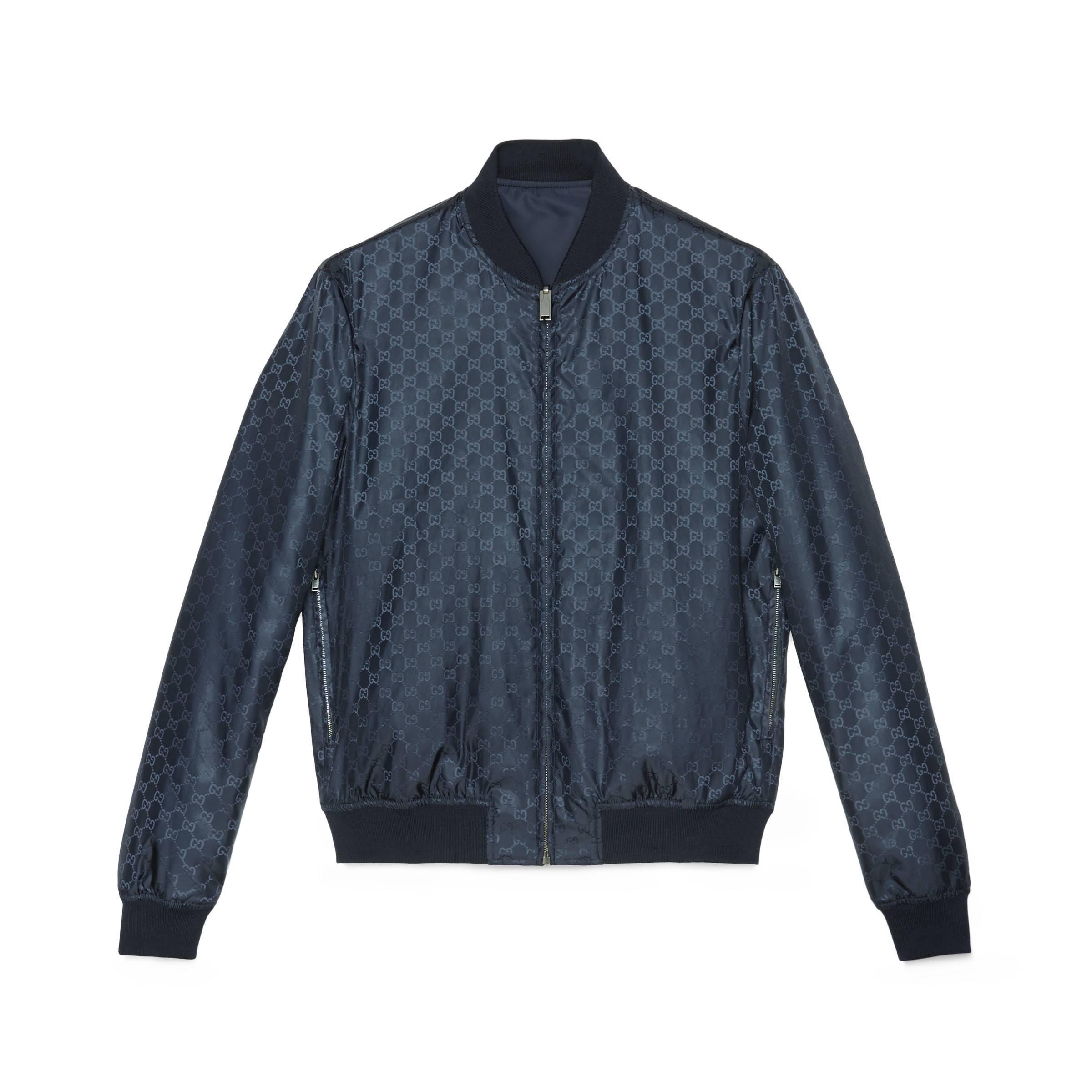 eea91c10c6c6f Gucci Wendbare Bomberjacke aus GG Jacquard-Nylon in Blau für Herren ...