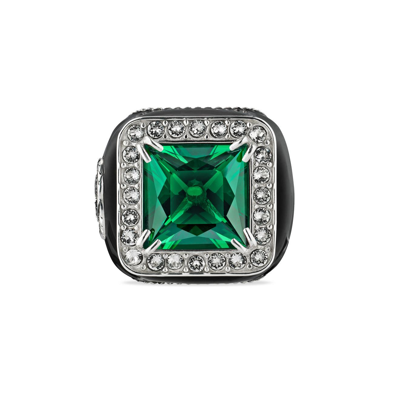 055e7fcd6 Lyst - Gucci Ring With Stone And Crystals in Green