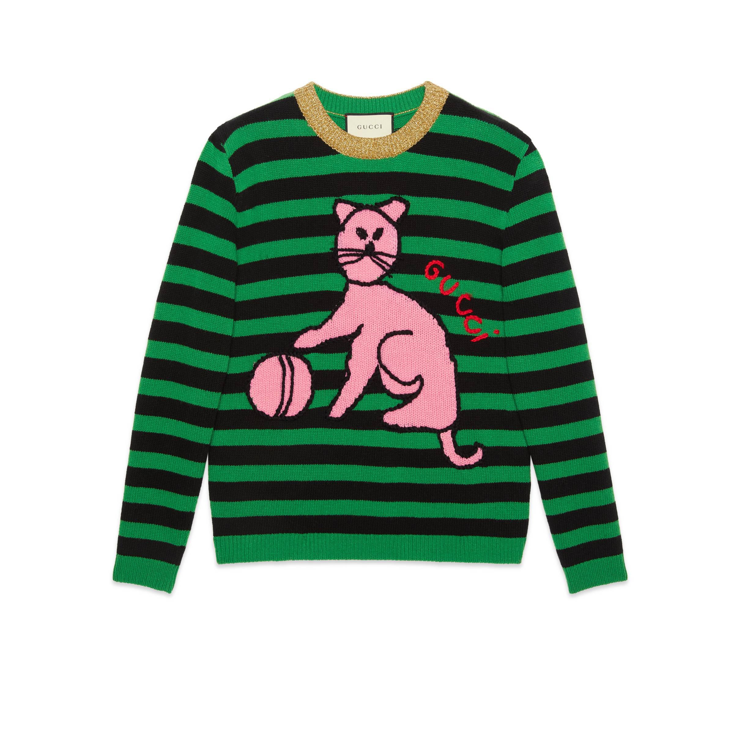 bbafbcf6692 Gucci - Green Sweater With Cat And Baseball - Lyst. View fullscreen