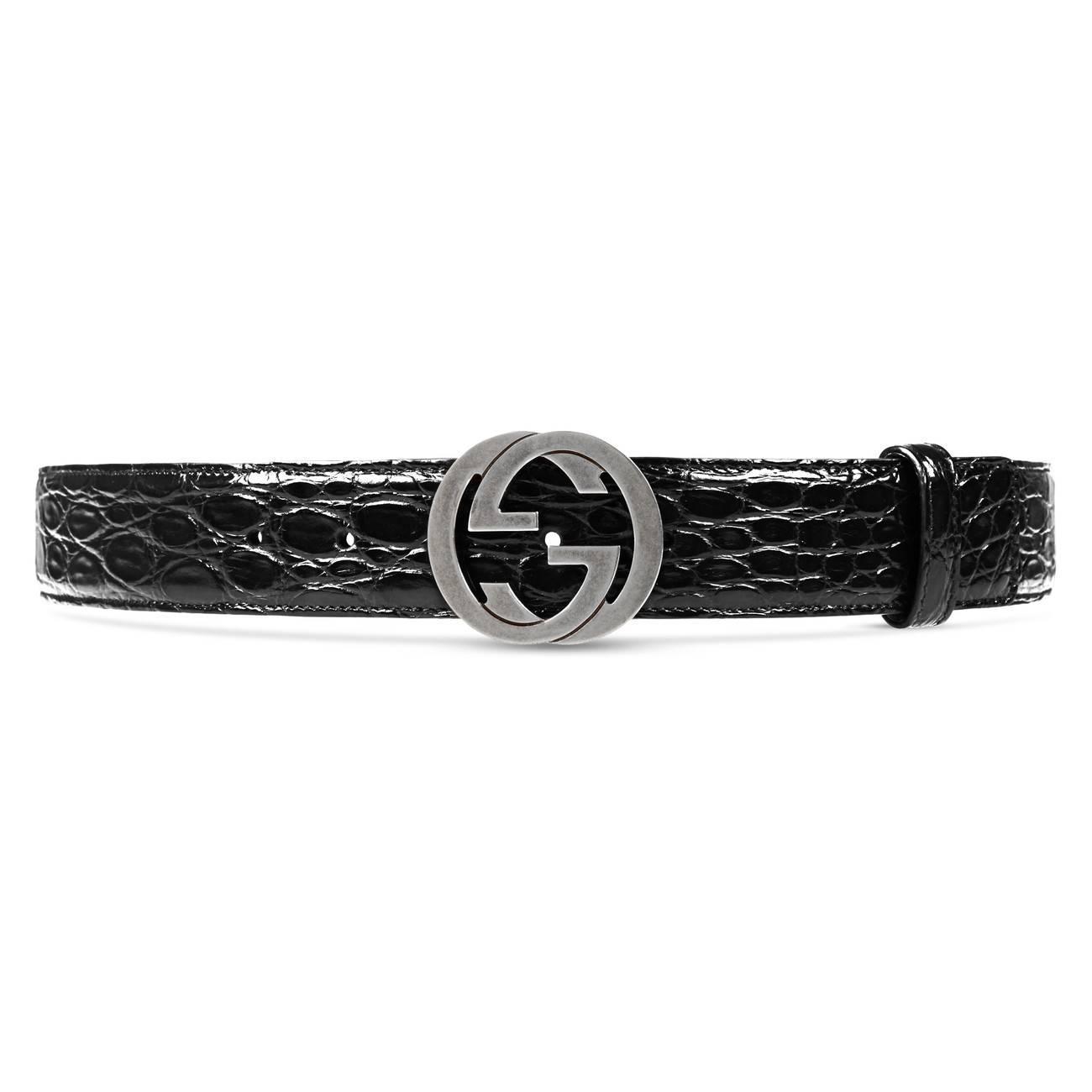 5a4c3945c72 Gucci Crocodile Belt With Interlocking G in Black for Men - Save 10 ...