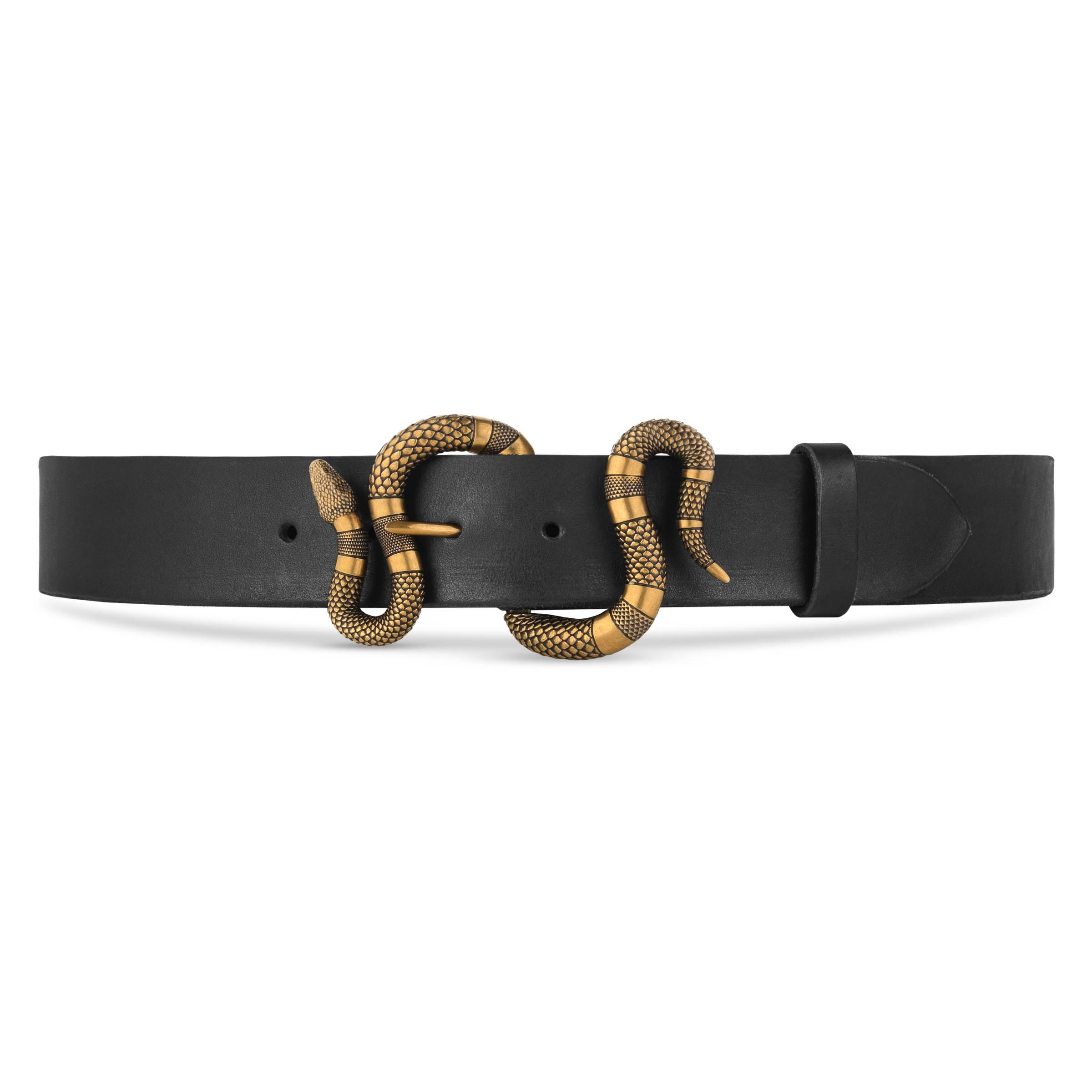 6d669ea794f Gucci Leather Belt With Snake Buckle in Black for Men - Lyst