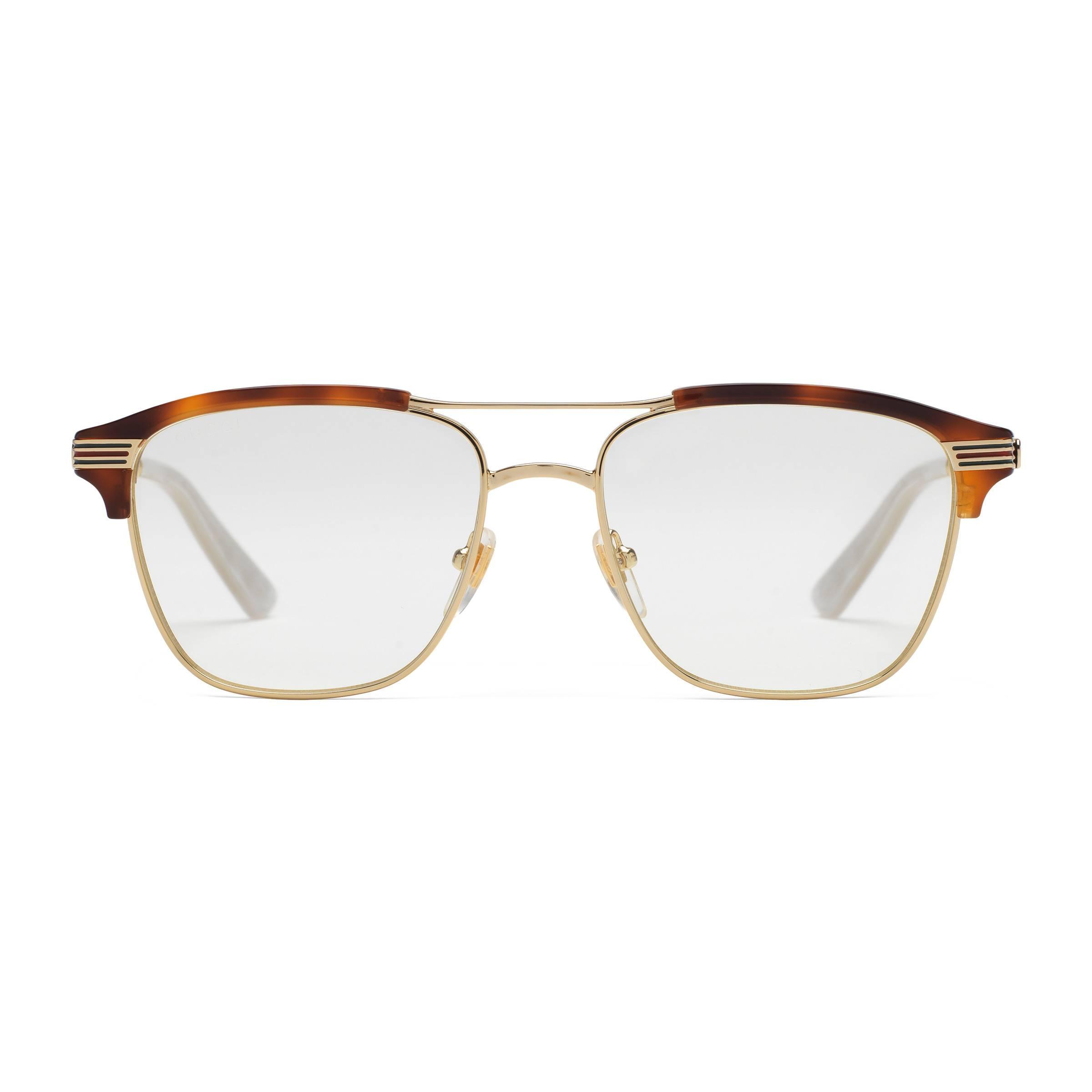 8c7dbeed65 Gafas cuadradas de metal Gucci de hombre de color Marrón - Lyst
