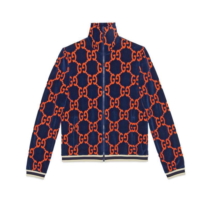 Lyst - Veste en chenille GG Gucci pour homme en coloris Bleu 8c367595802