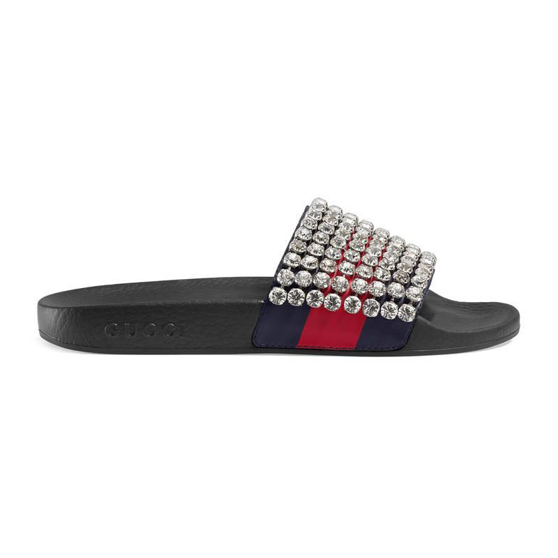 8ed16e8a4b2093 Lyst - Gucci Web Slide With Crystals in Blue