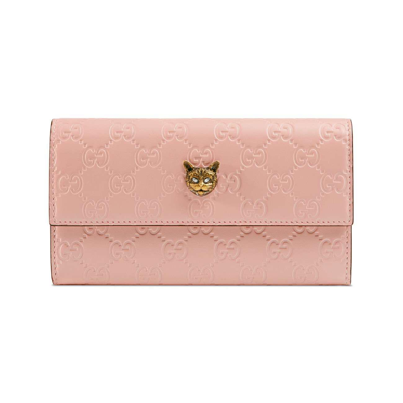 1f2c0630a1cc Gucci Signature Continental Wallet With Cat in Pink - Lyst