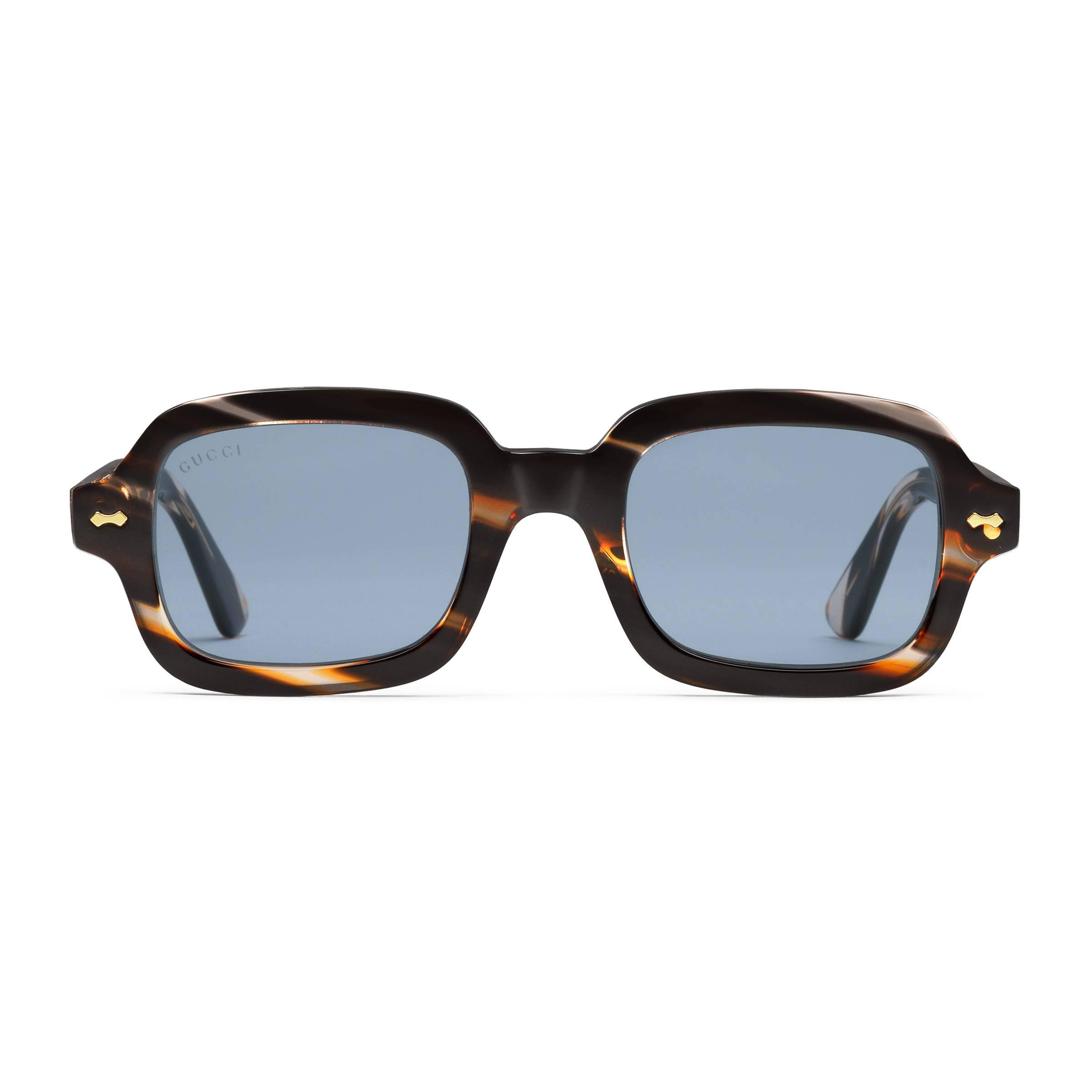 94ab30a42f3 Gucci Rectangular-frame Acetate Glasses for Men - Lyst