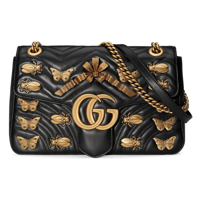 0be1683fd57c Lyst - Gucci Gg Marmont Animals Studs Shoulder Bag in Black