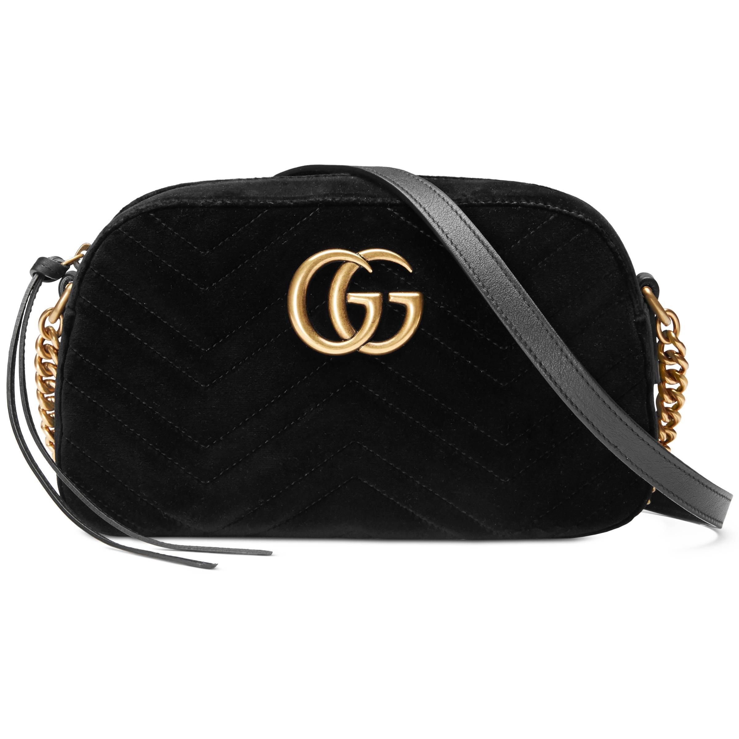 1ae7097e5f4 Gucci. Sac à épaule GG Marmont en velours petite taille femme de coloris  noir