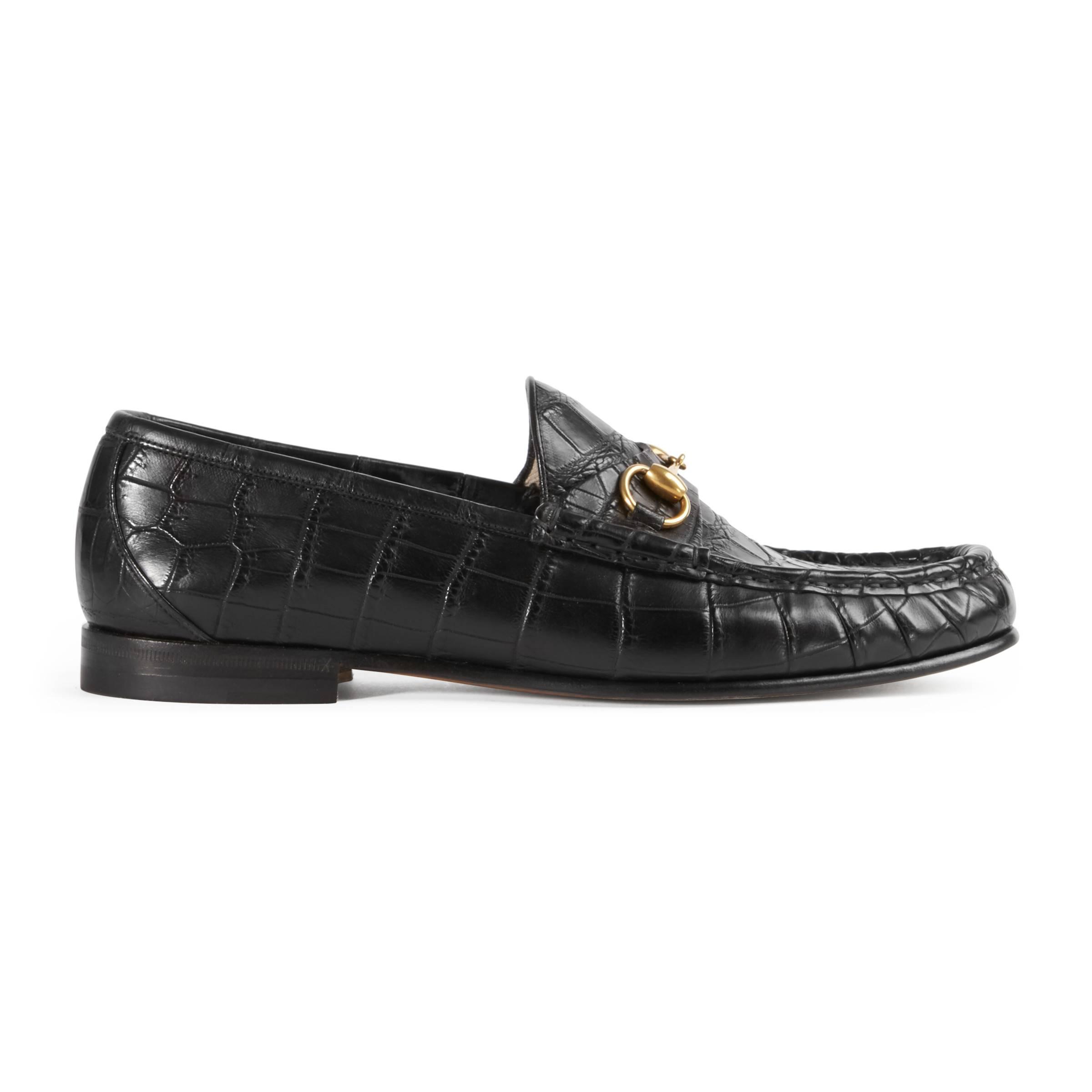 b2c32af5b5b Gucci 1953 Horsebit Crocodile Loafer in Black for Men - Save ...