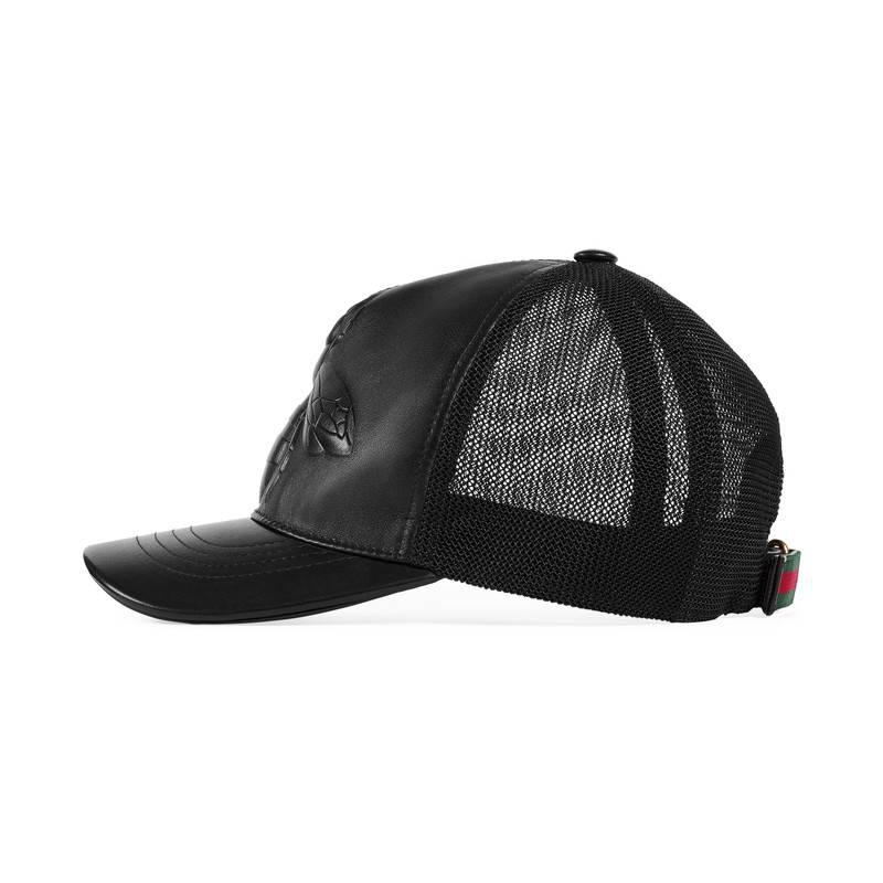 Lyst - Gucci Bee-embossed Leather Baseball Hat in Black for Men 12e4ec7bdb89