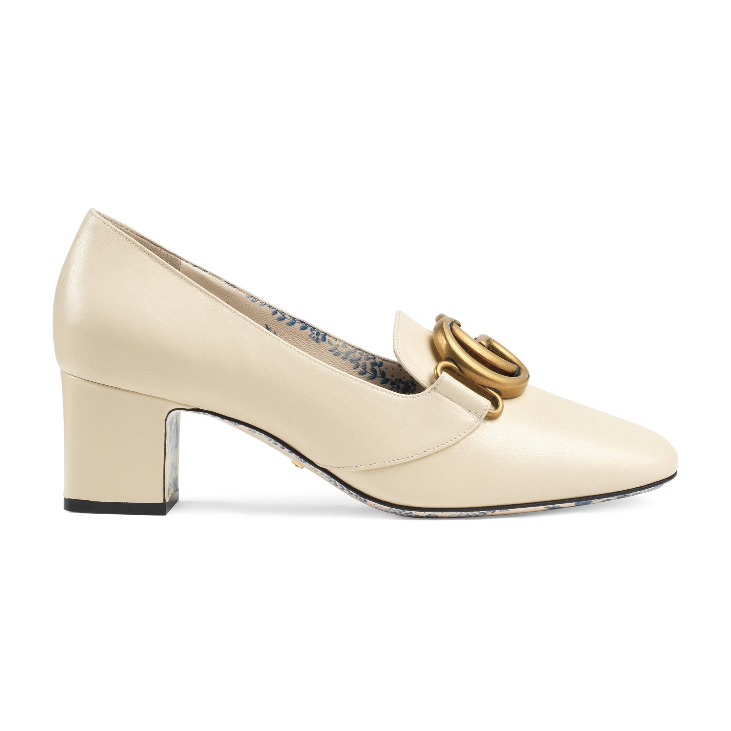 2f4f358f9779 Lyst - Gucci Leather Mid-heel Pump With Double G in White