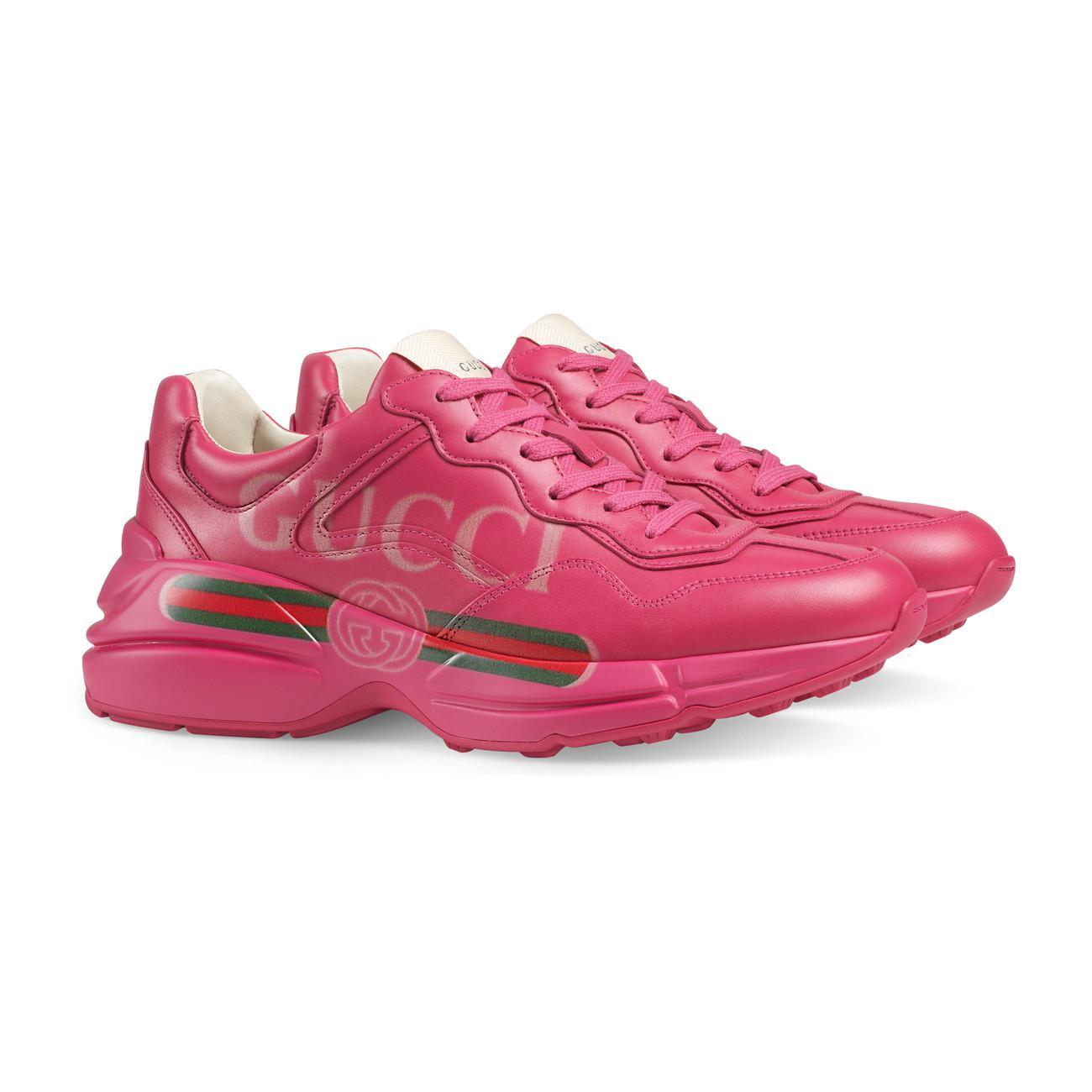 e7fa8f87815a Lyst - Gucci Rhyton Logo Leather Sneaker in Pink
