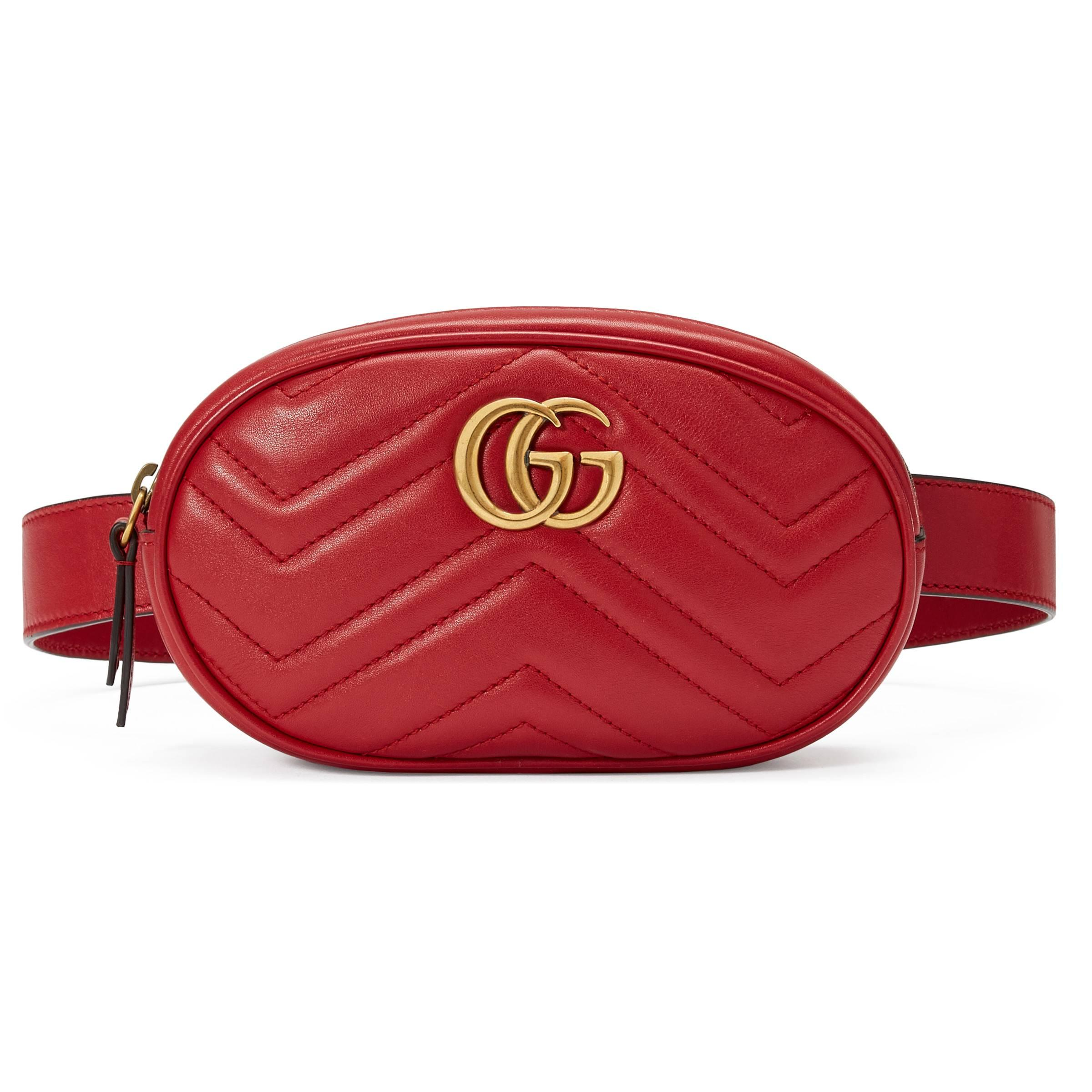 70a7a15ecb0067 Gucci Gg Marmont Matelassé Leather Belt Bag in Red - Lyst