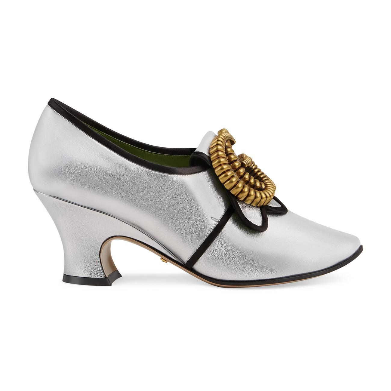 4bc158868ab Lyst - Gucci Metallic Leather Mid-heel Pump With Double G in Metallic
