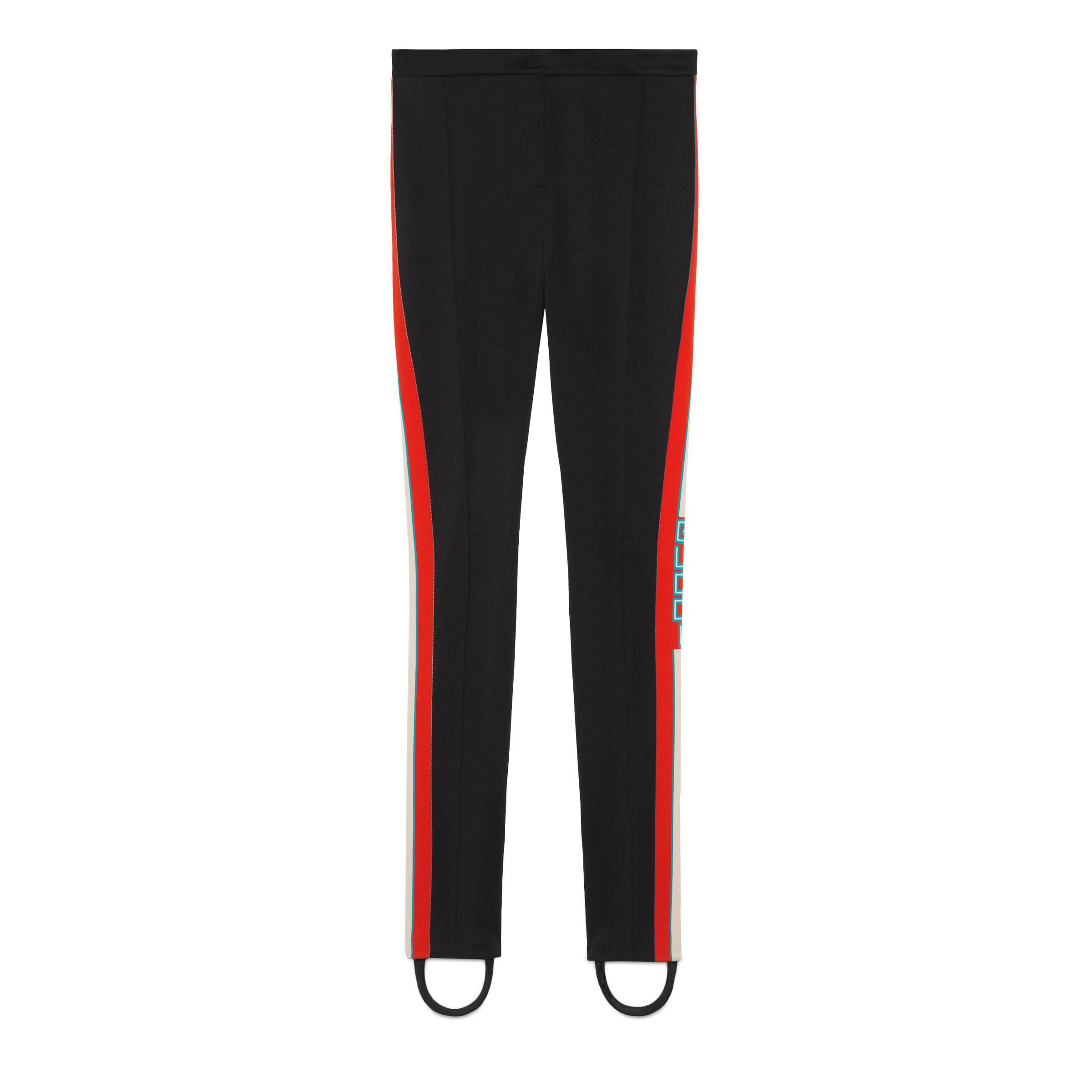 ff91f2843019 Lyst - Gucci Technical Jersey Stirrup Leggings in Black