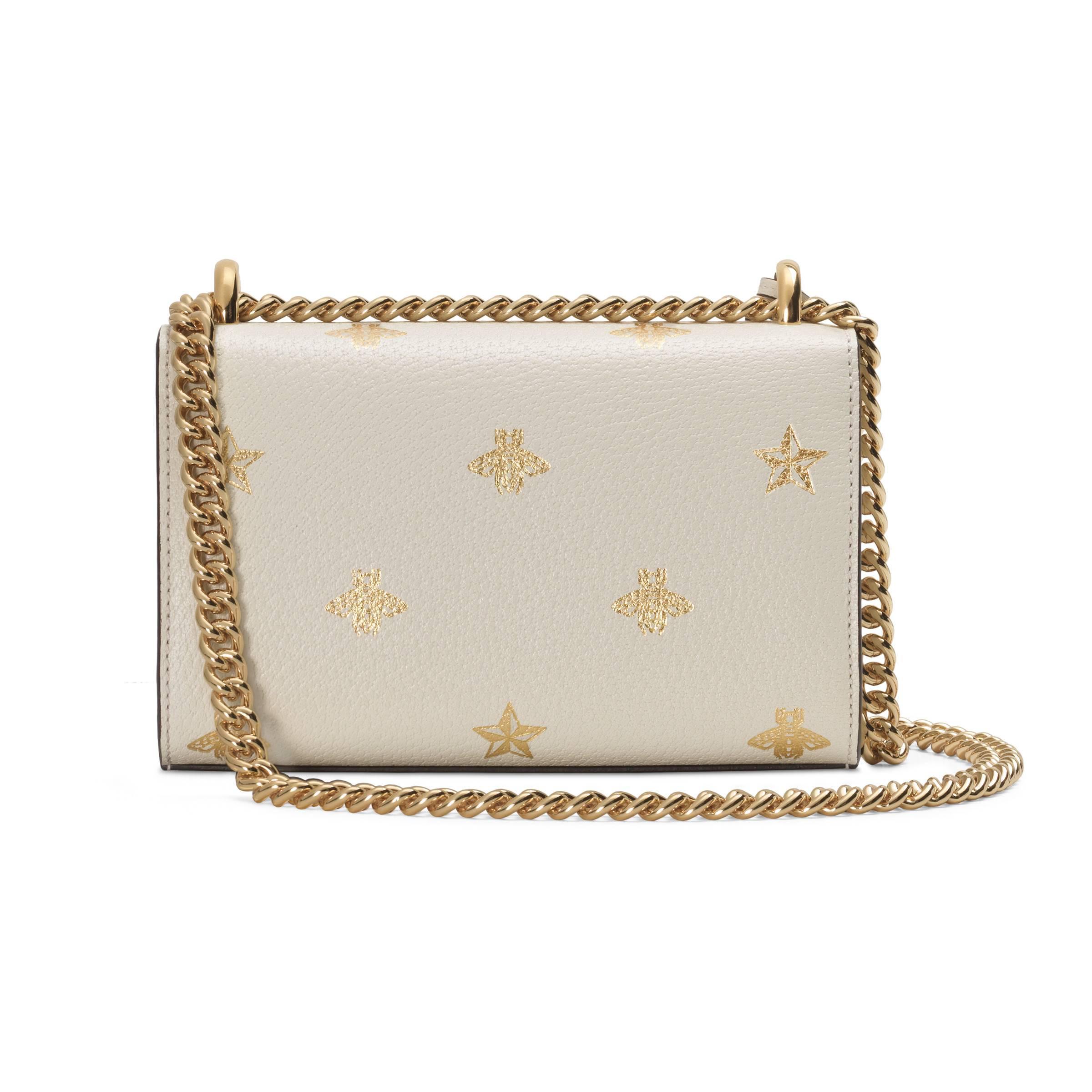 720822b9d88e Gucci - White Padlock Bee Star Small Shoulder Bag - Lyst. View fullscreen