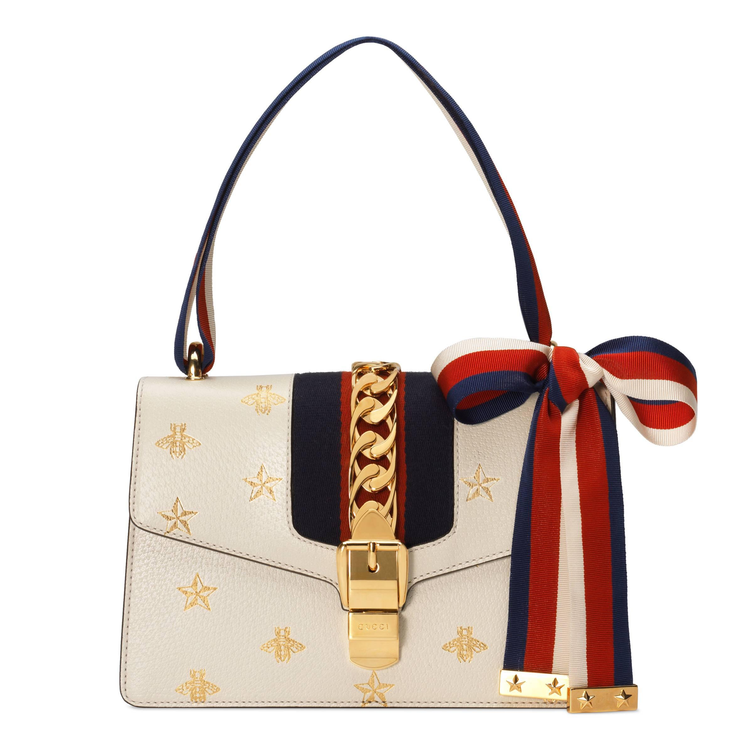 221cfbb49056 Gucci Sylvie Bee Star Small Shoulder Bag in Red - Lyst