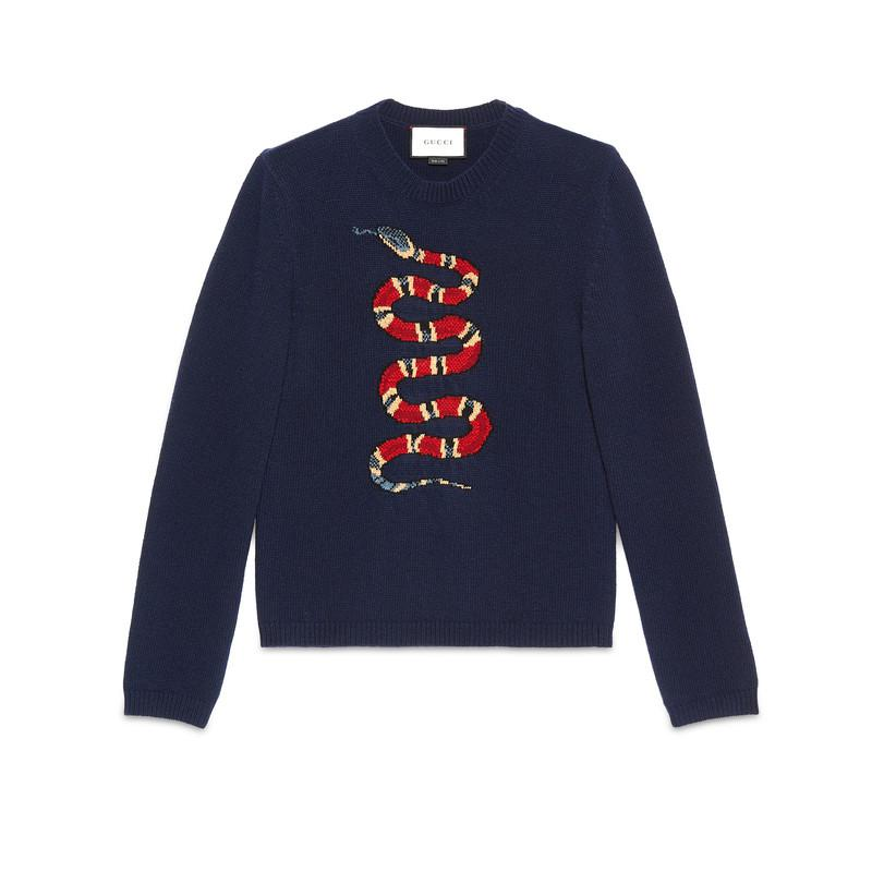 Gucci. Women's Blue Kingsnake Jacquard Wool Jumper