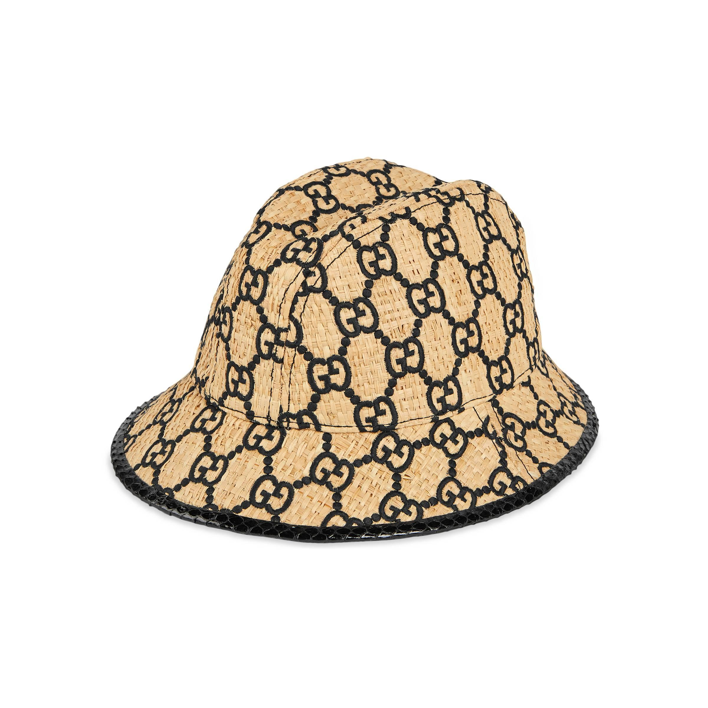 e9deed3e30434 Gucci GG Fedora Hat With Snakeskin in Natural for Men - Lyst