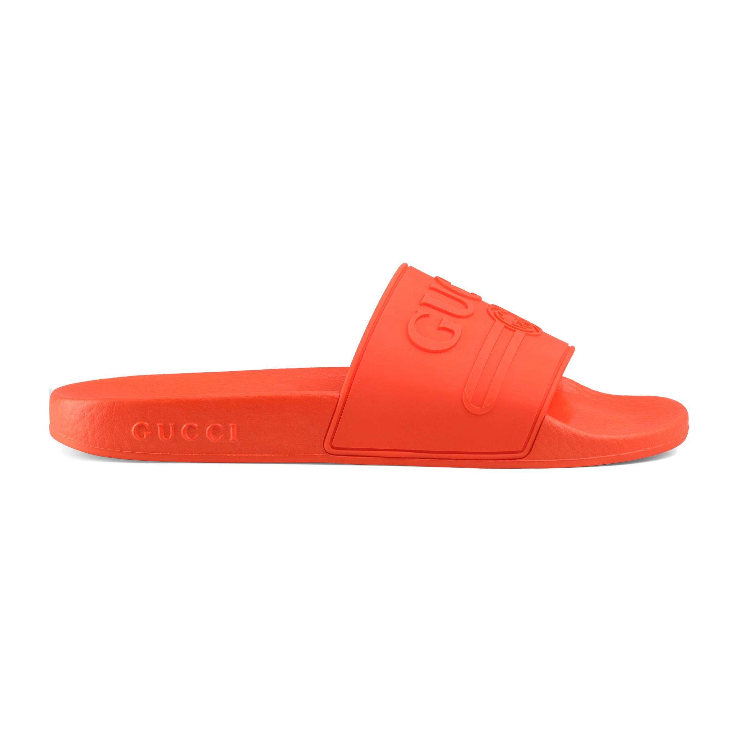 36ce037c6d061d Gucci Logo Rubber Slide Sandal in Orange - Save 4% - Lyst