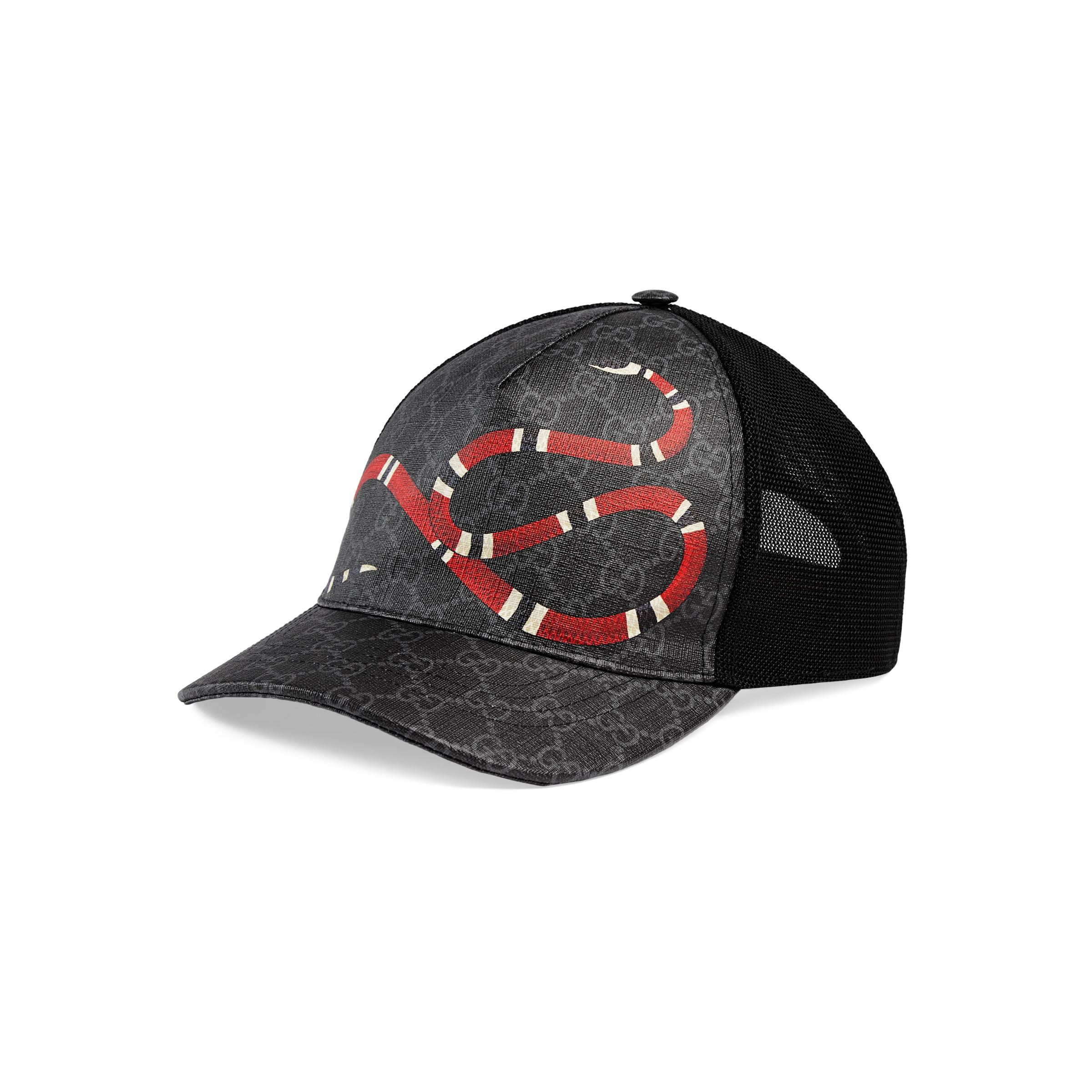 93e34842214 Gucci Kingsnake Print GG Supreme Baseball Hat in Black for Men ...