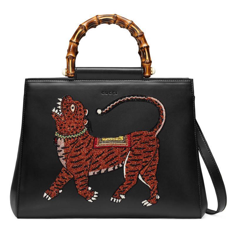 d9de717576e Lyst - Gucci Nymphaea Leather Top Handle Bag in Black