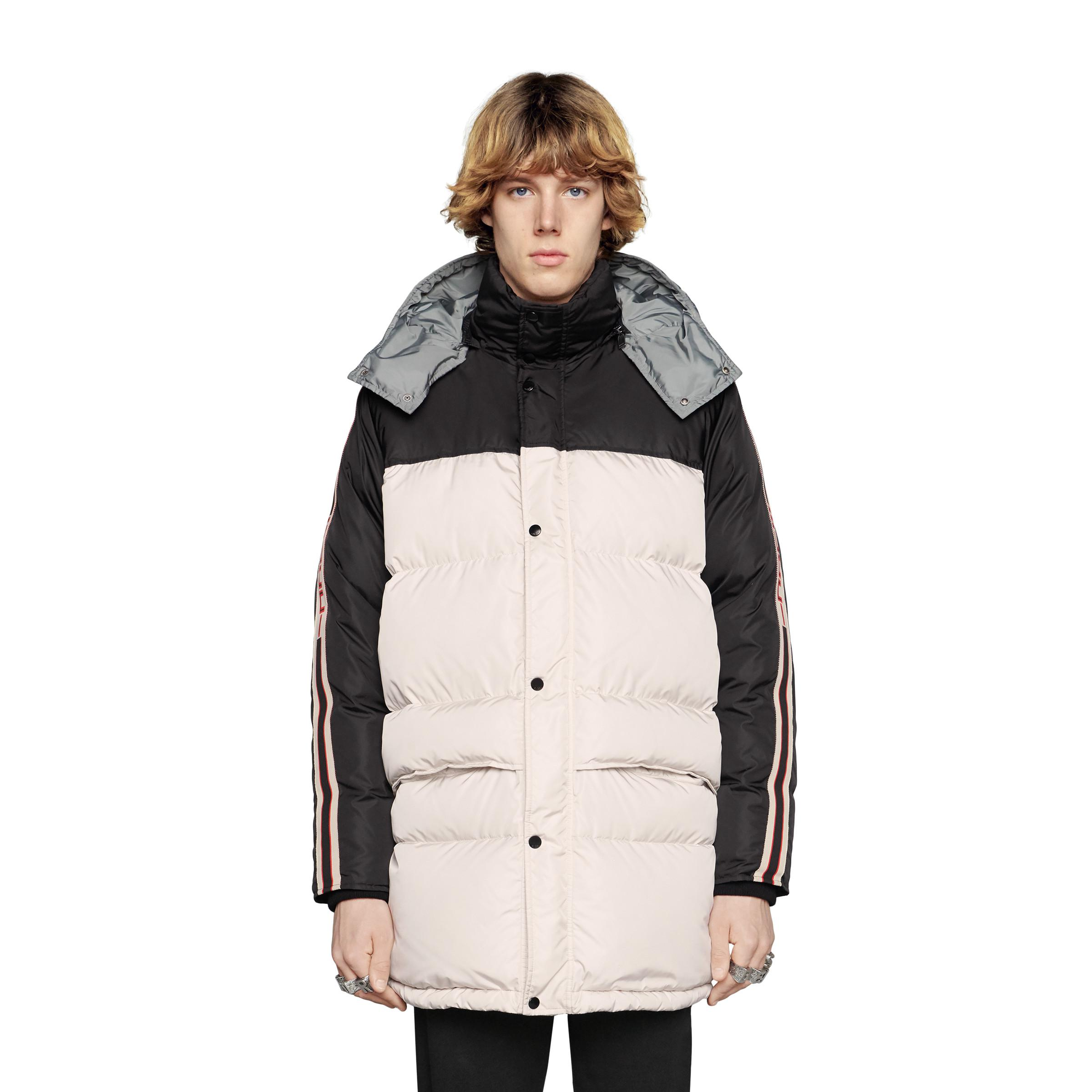 25d4369423a55 Gucci - White Nylon Coat With Stripe for Men - Lyst. View fullscreen