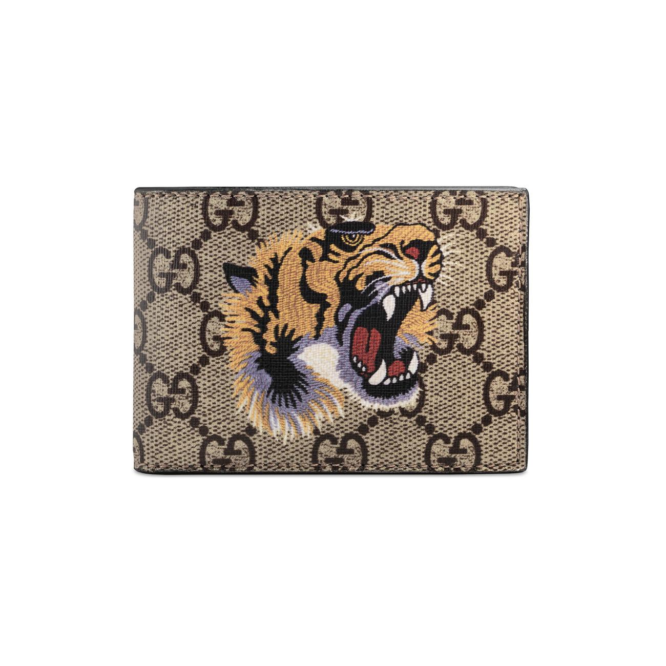 6243d2a6e50 Lyst - Gucci Tiger Print GG Supreme Wallet for Men - Save 11%