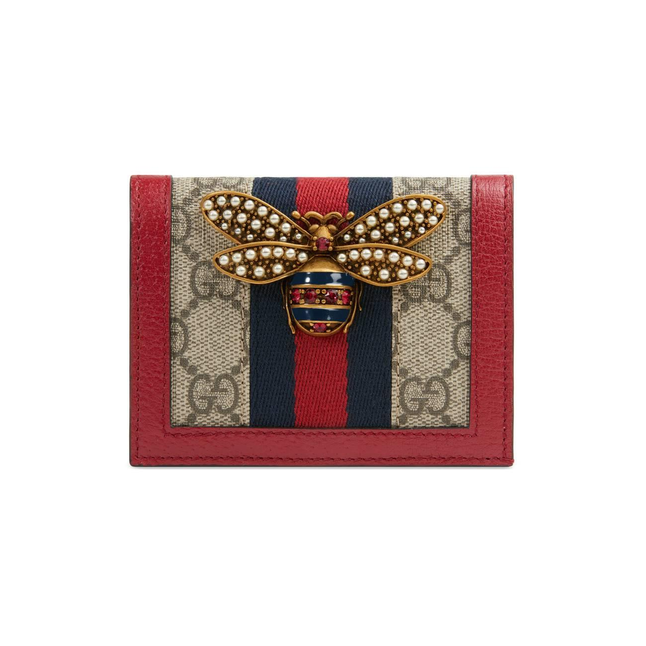 b30df6e724d Lyst - Gucci Queen Margaret GG Card Case in Red