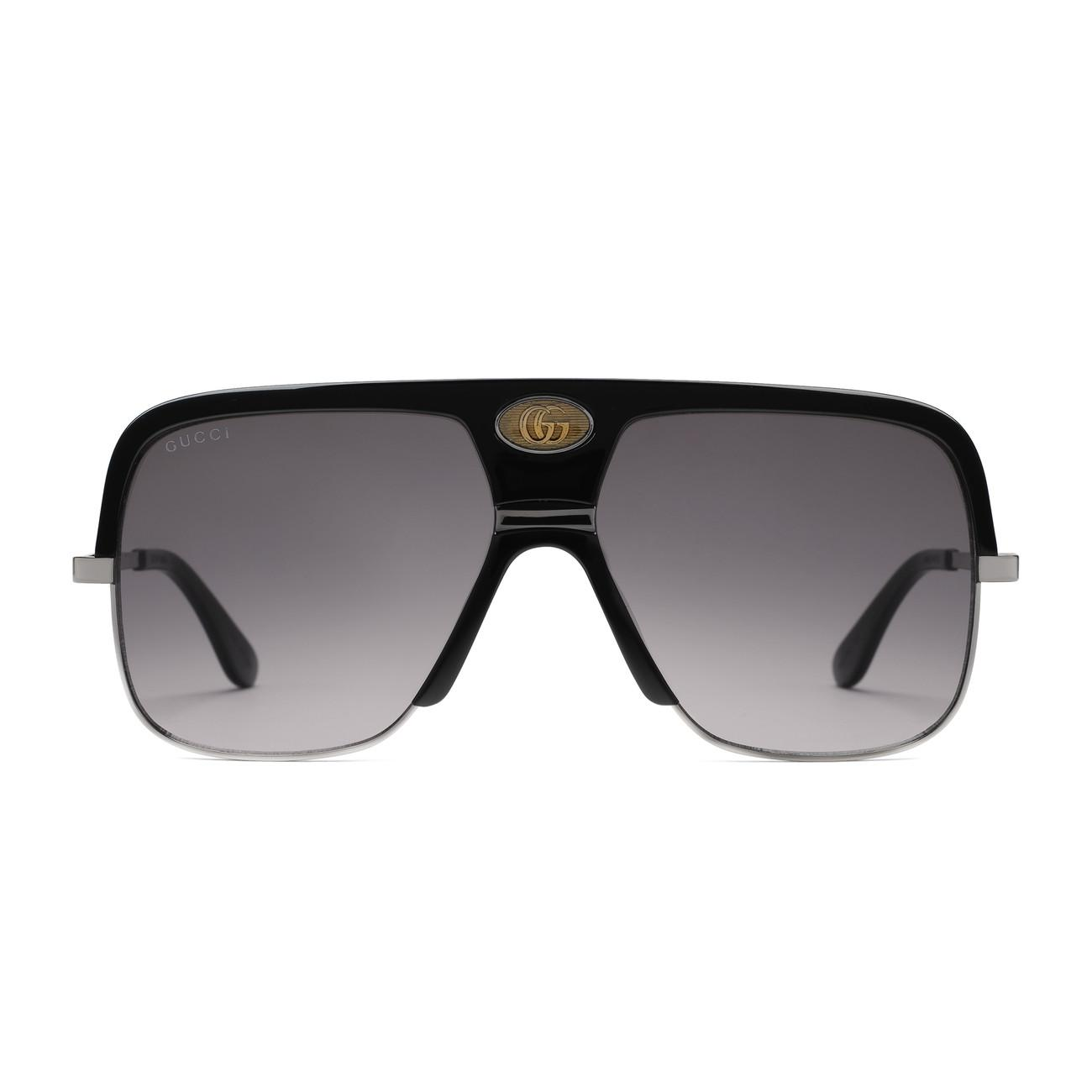 6661b7a142983 Gucci - White Navigator Sunglasses With Double G for Men - Lyst. View  fullscreen